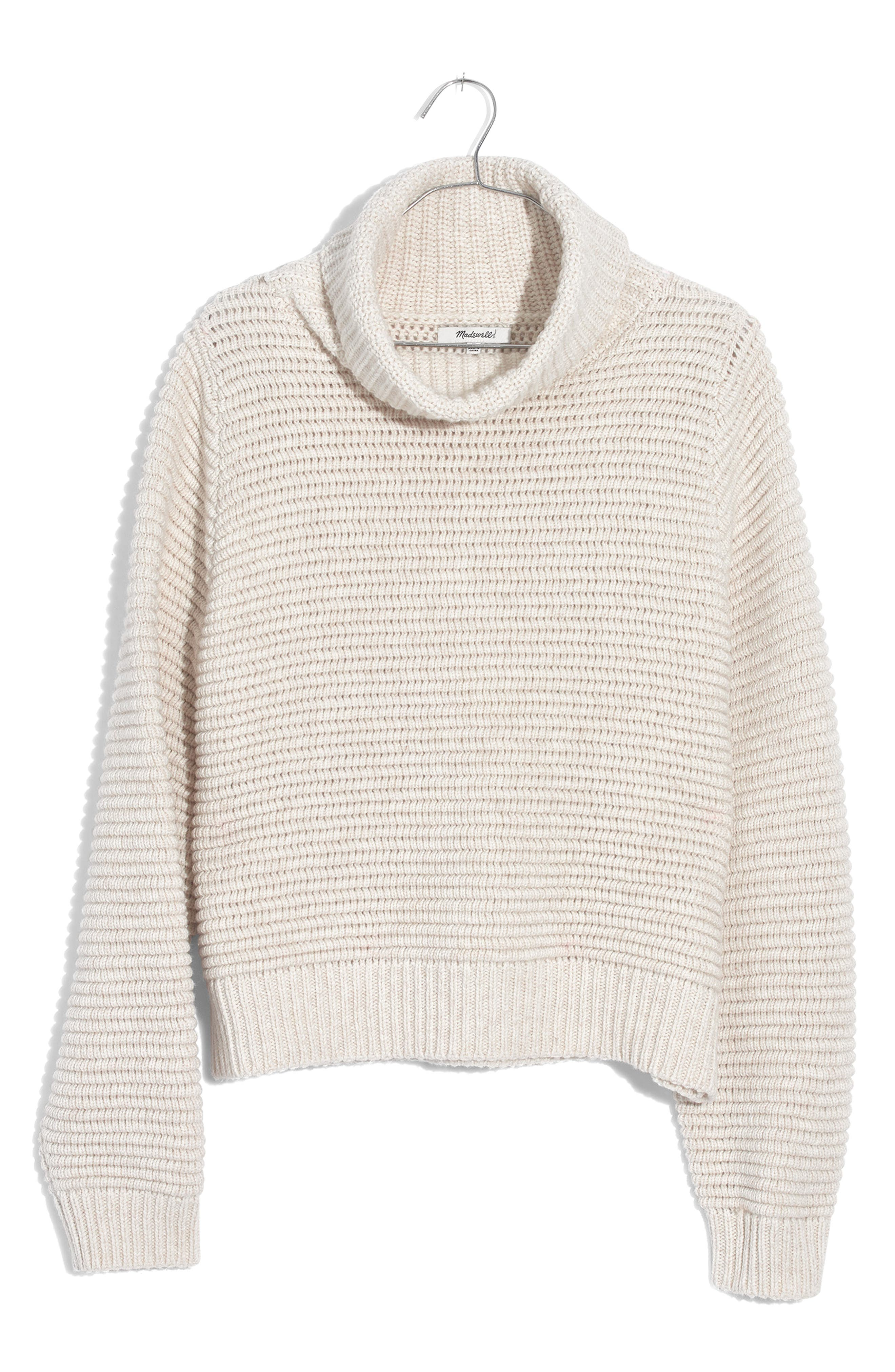 Side Button Turtleneck Sweater,                             Alternate thumbnail 4, color,                             HEATHER OAK
