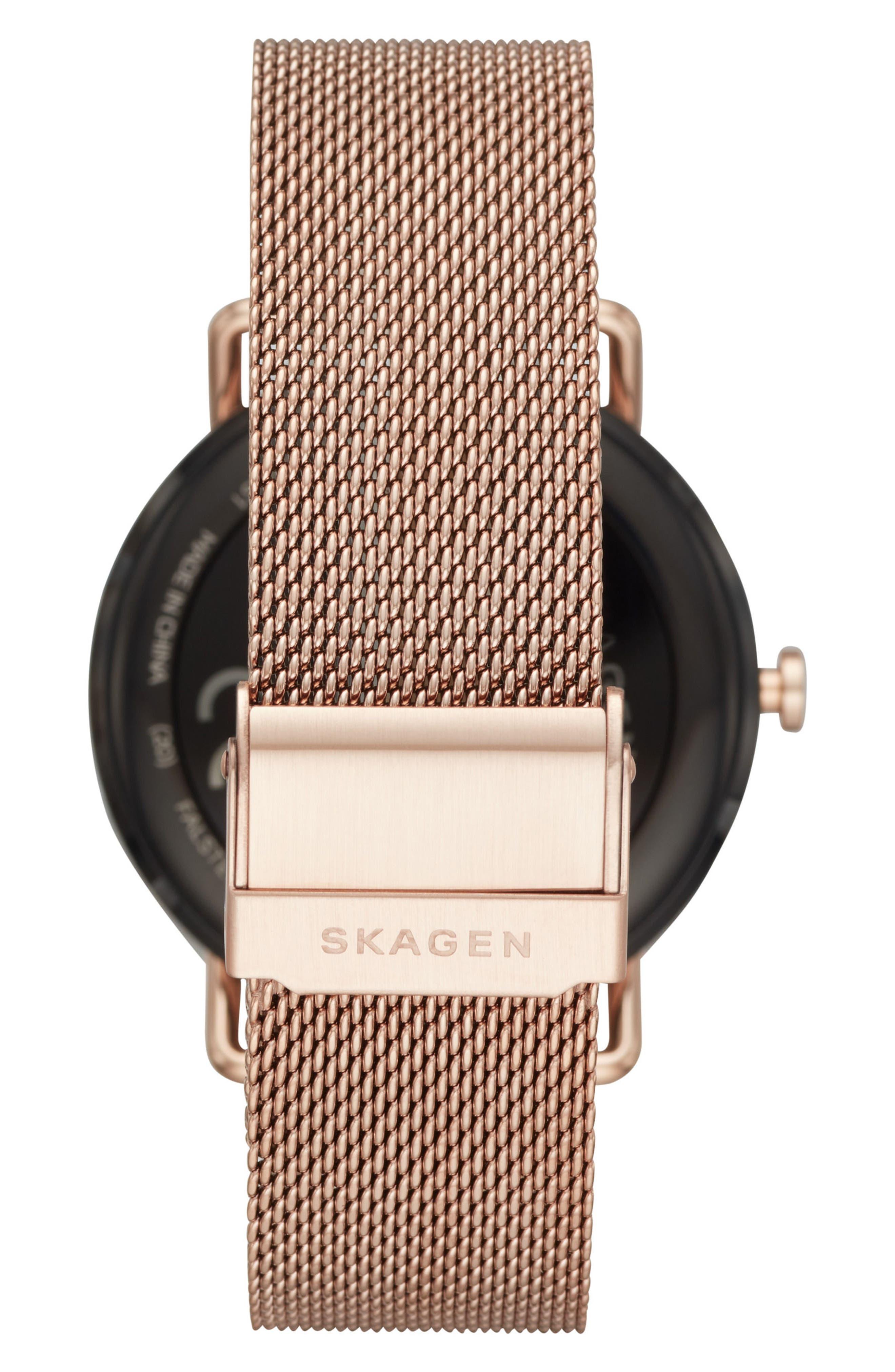 Falster Touchscreen Mesh Strap Smart Watch, 42mm,                             Alternate thumbnail 2, color,                             SILVER