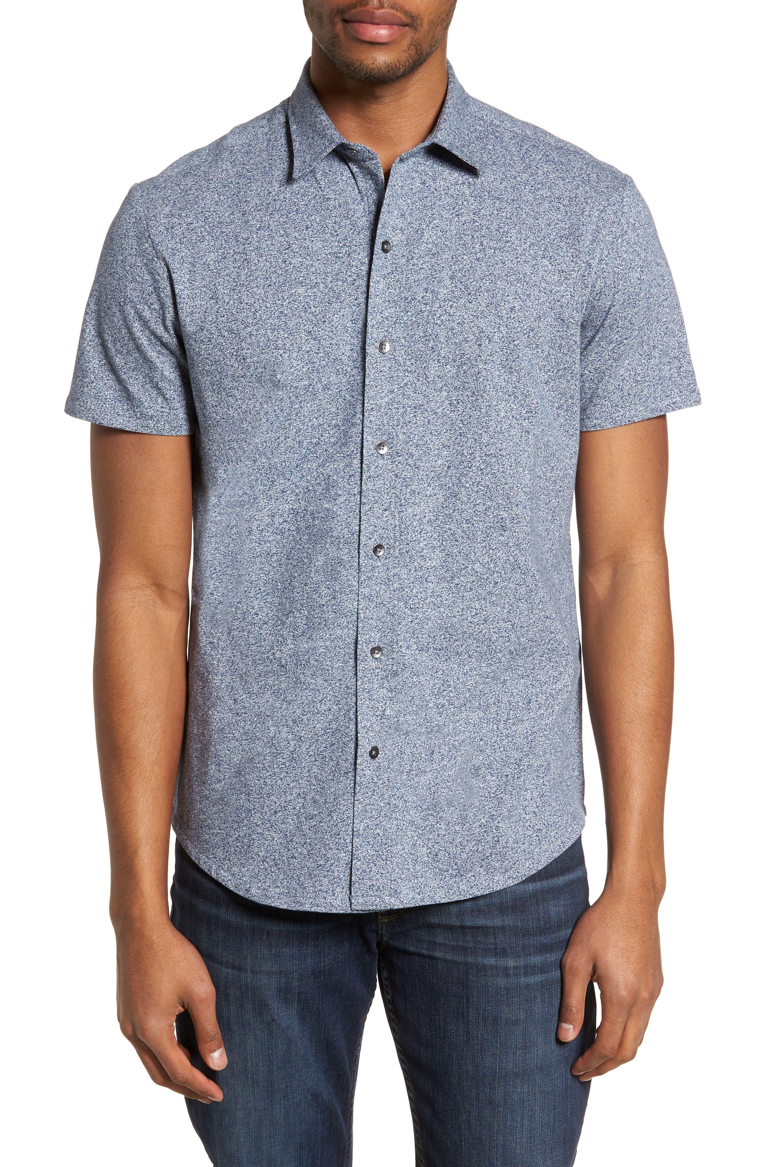 'Metropolitan' Knit Short Sleeve Sport Shirt,                         Main,                         color, NAVY/ WHITE