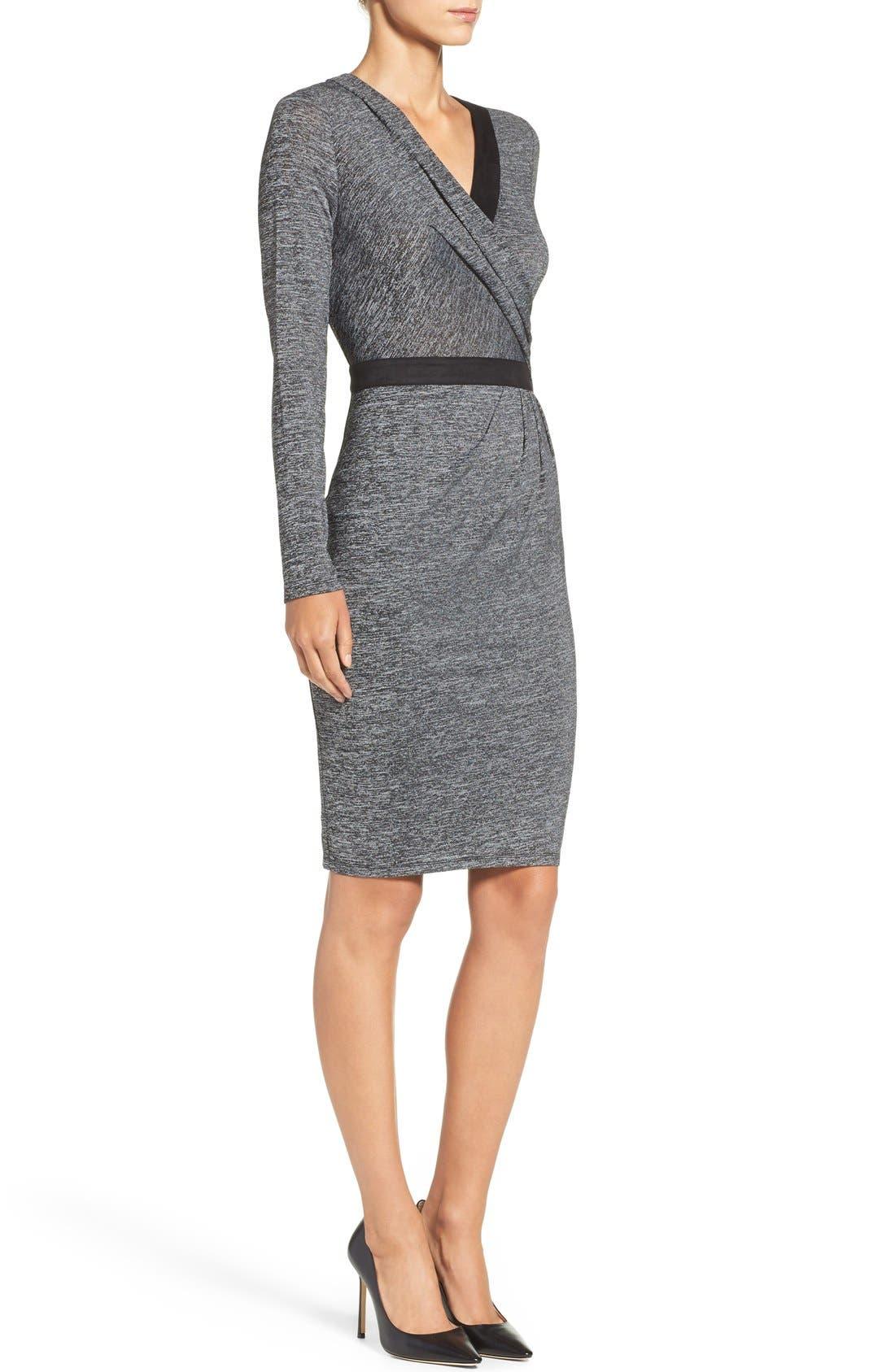 Knit Faux Wrap Dress,                             Alternate thumbnail 3, color,                             023