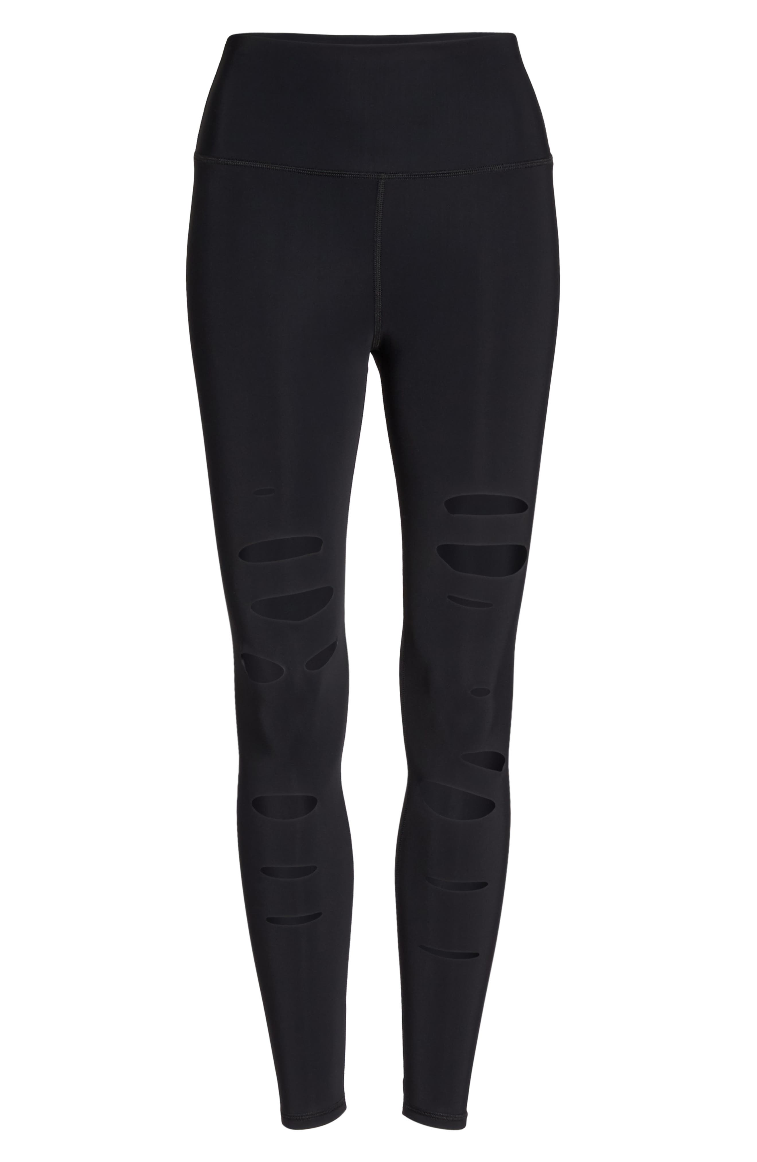 Ripped Warrior Midi Leggings,                             Alternate thumbnail 7, color,                             001