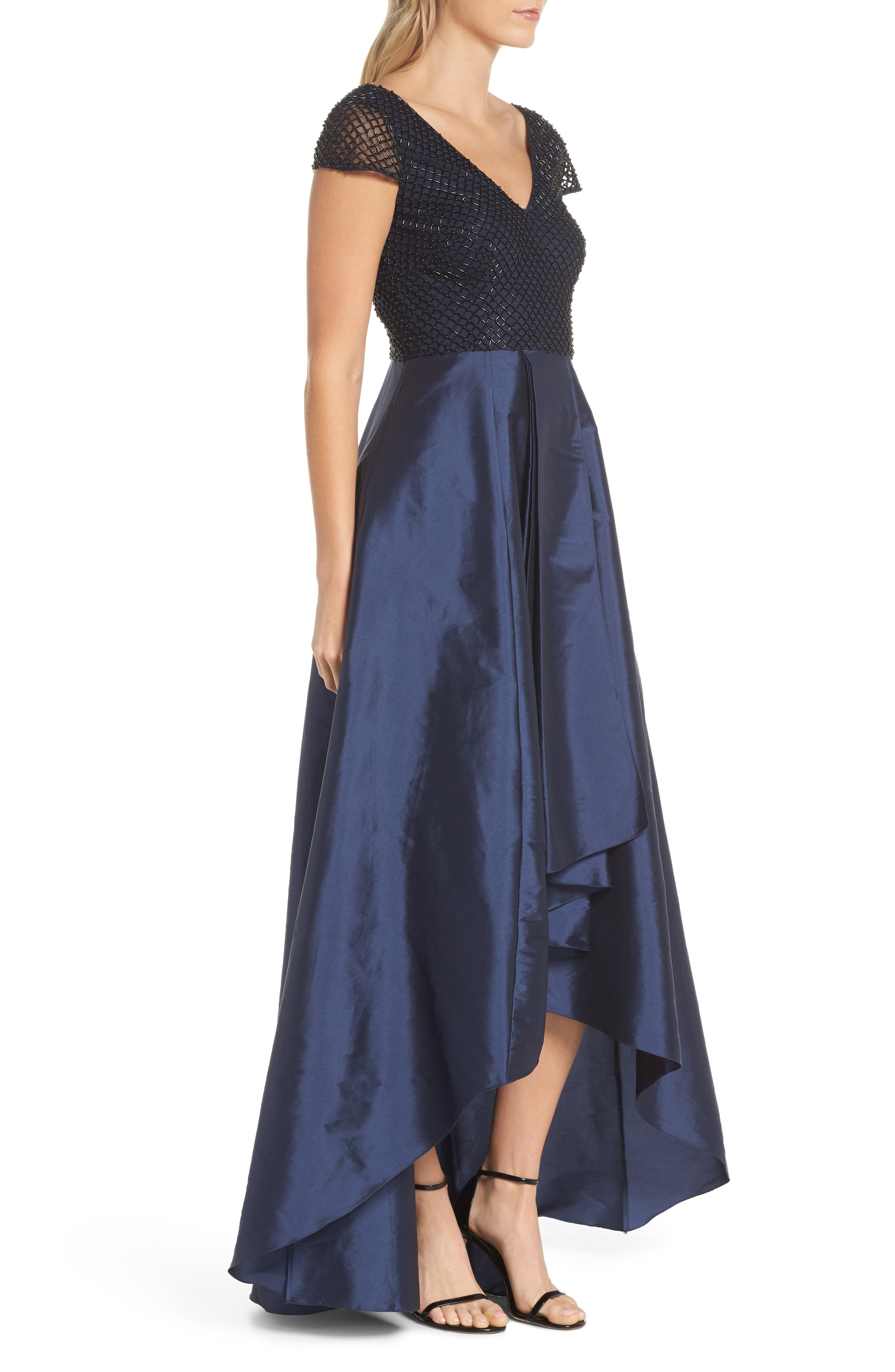Beaded High/Low Gown,                             Alternate thumbnail 3, color,                             410