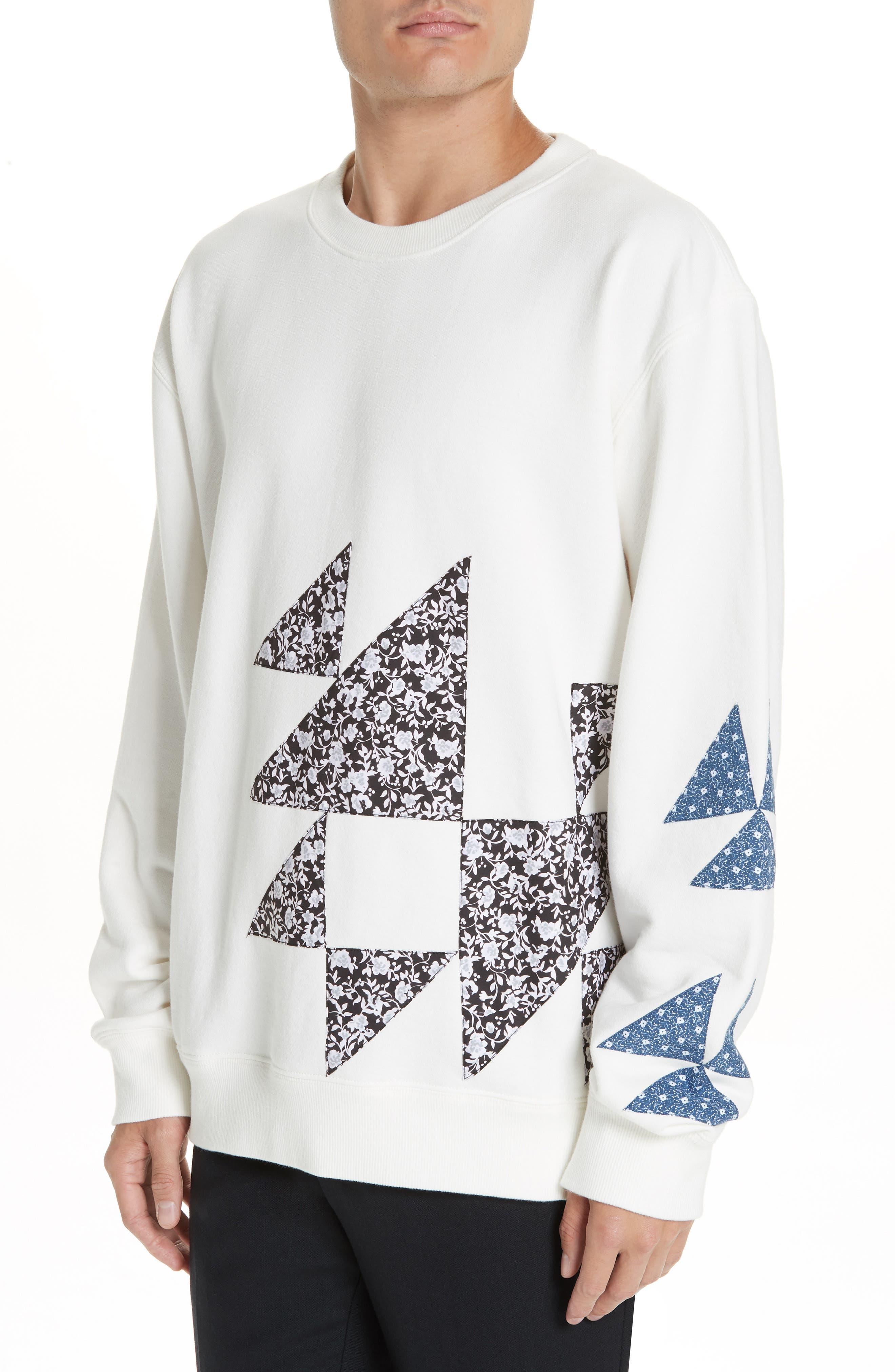 Oversize Patchwork Detail Sweatshirt,                             Alternate thumbnail 4, color,                             OFF WHITE