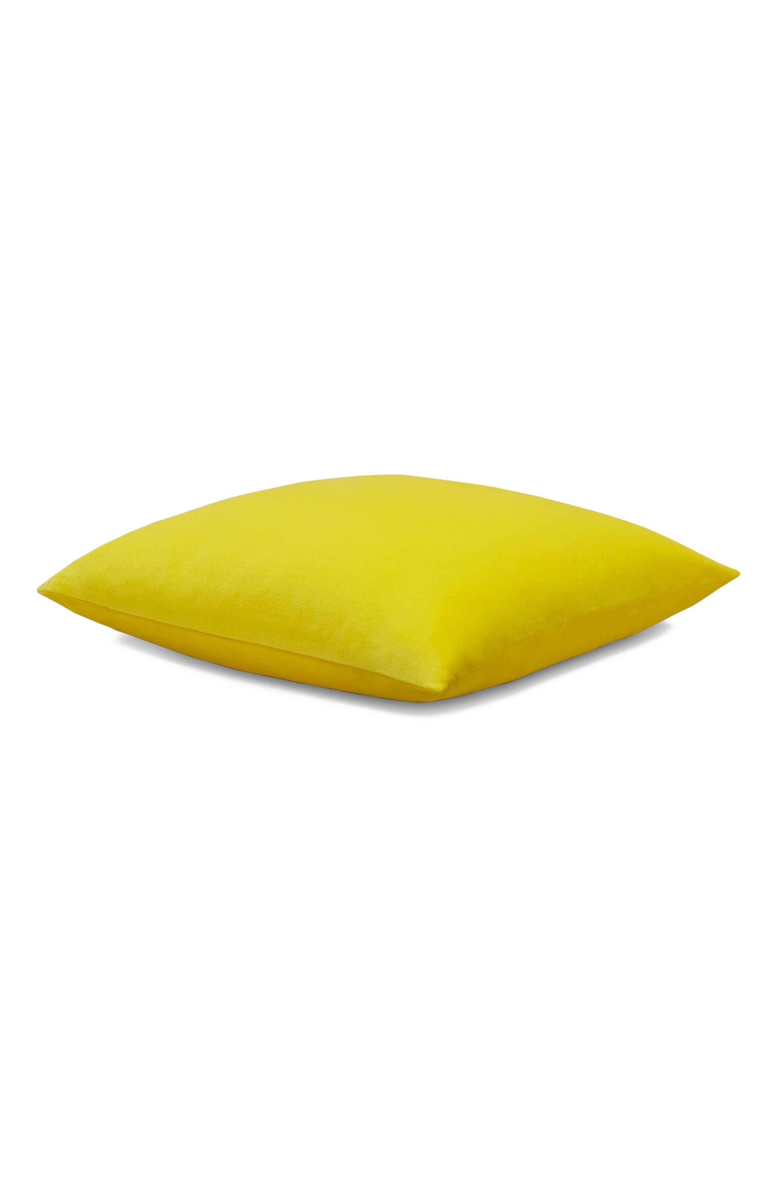 Home Lucerne Velvet Accent Pillow,                             Main thumbnail 1, color,                             YELLOW