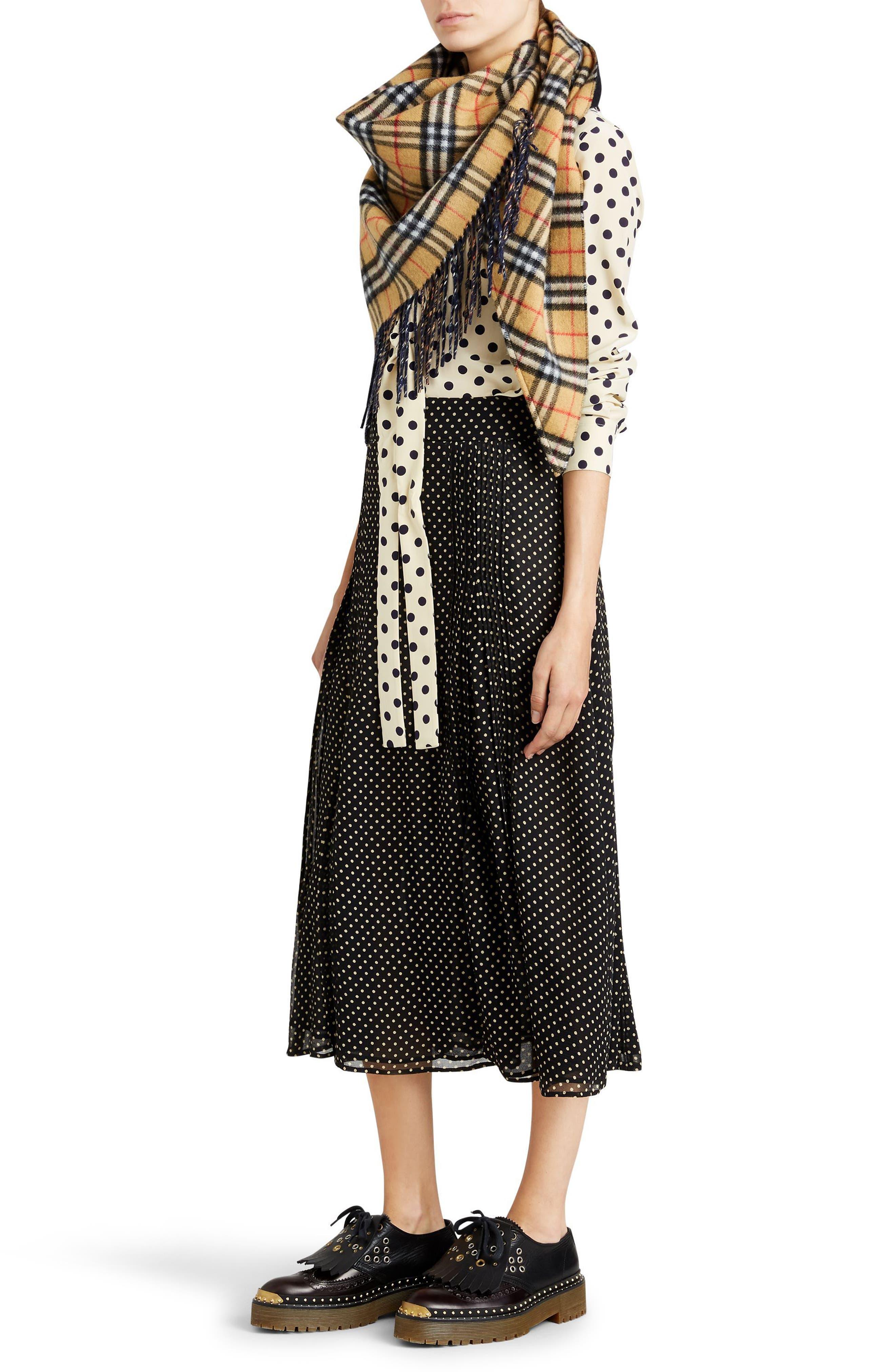 Fine Pintuck Dot Print Silk Skirt,                             Alternate thumbnail 6, color,