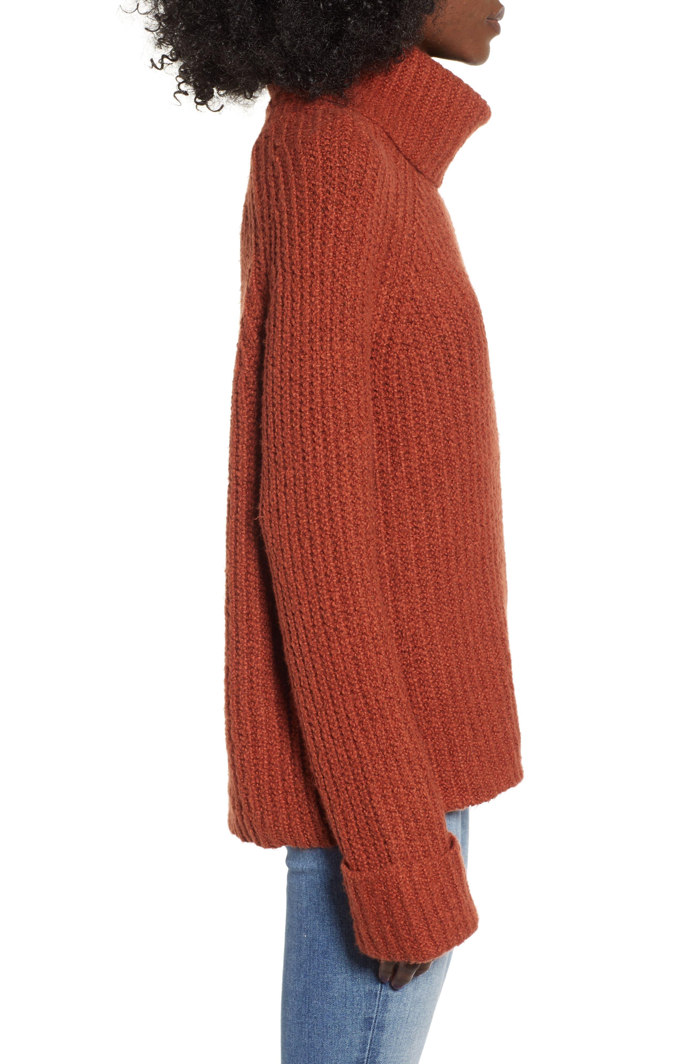 Cozy Turtleneck Sweater,                             Alternate thumbnail 3, color,                             RUST SEQUOIA