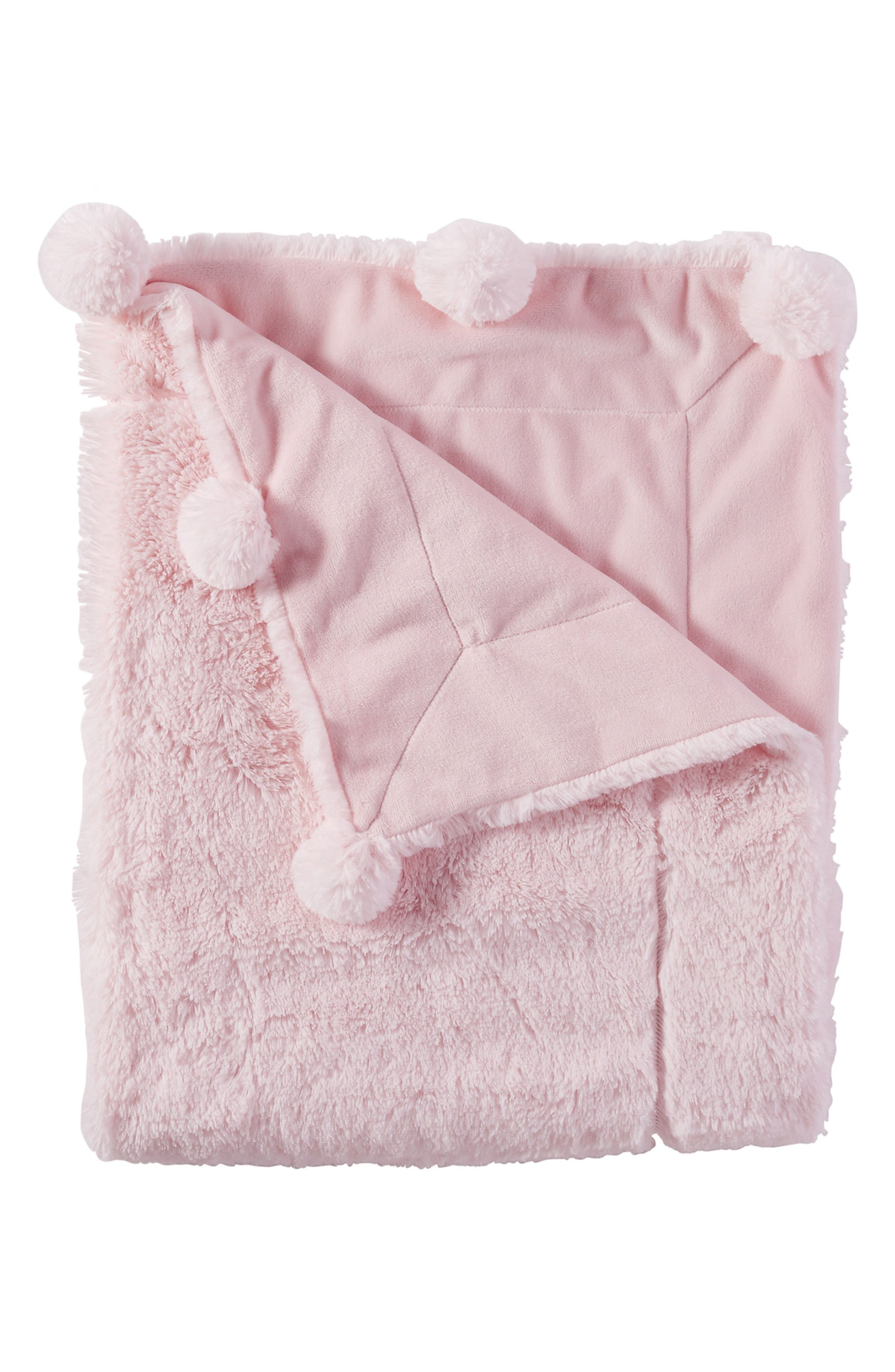 Pompom Receiving Blanket,                             Main thumbnail 1, color,                             PINK