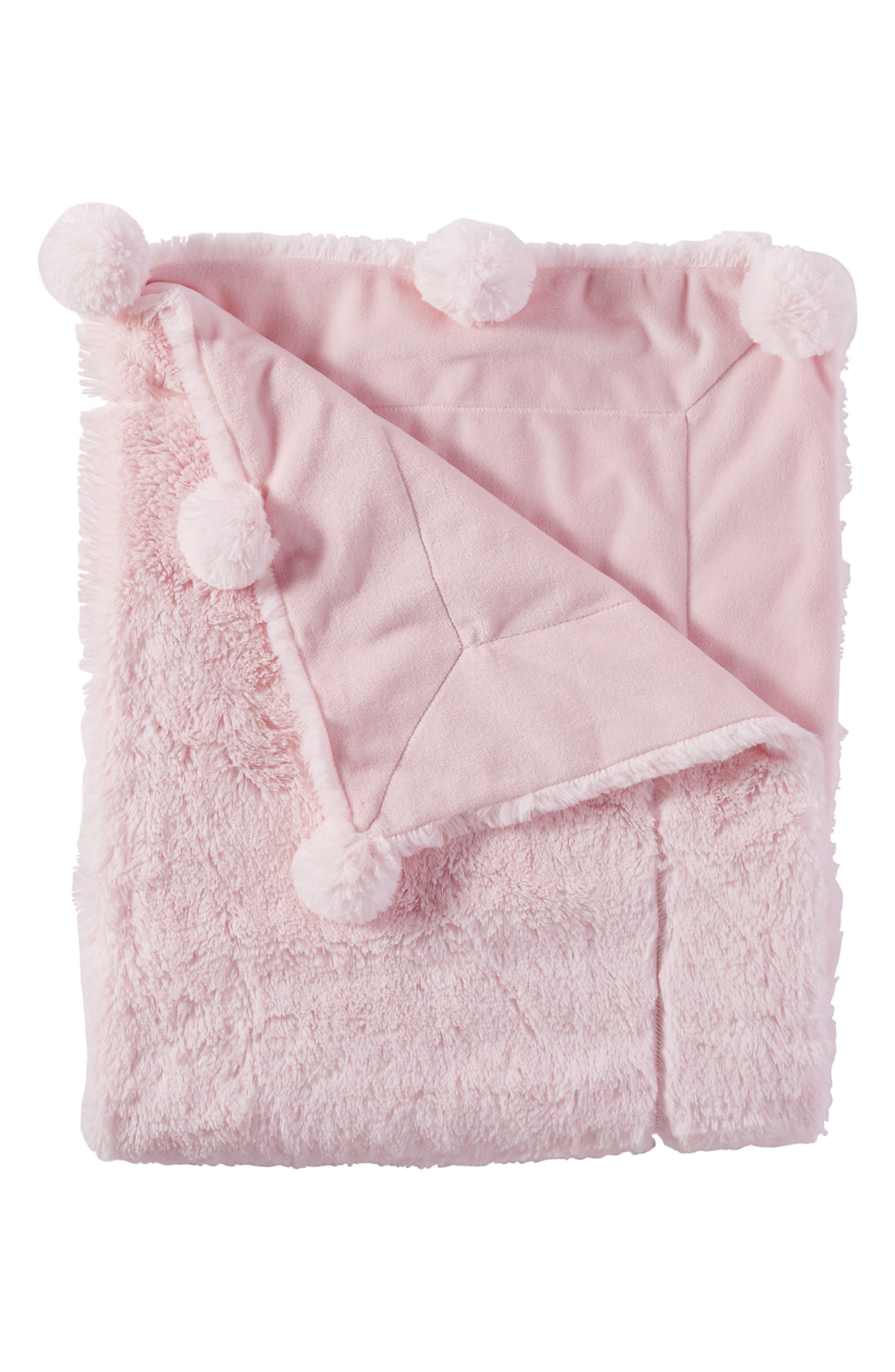 Pompom Receiving Blanket,                         Main,                         color, PINK