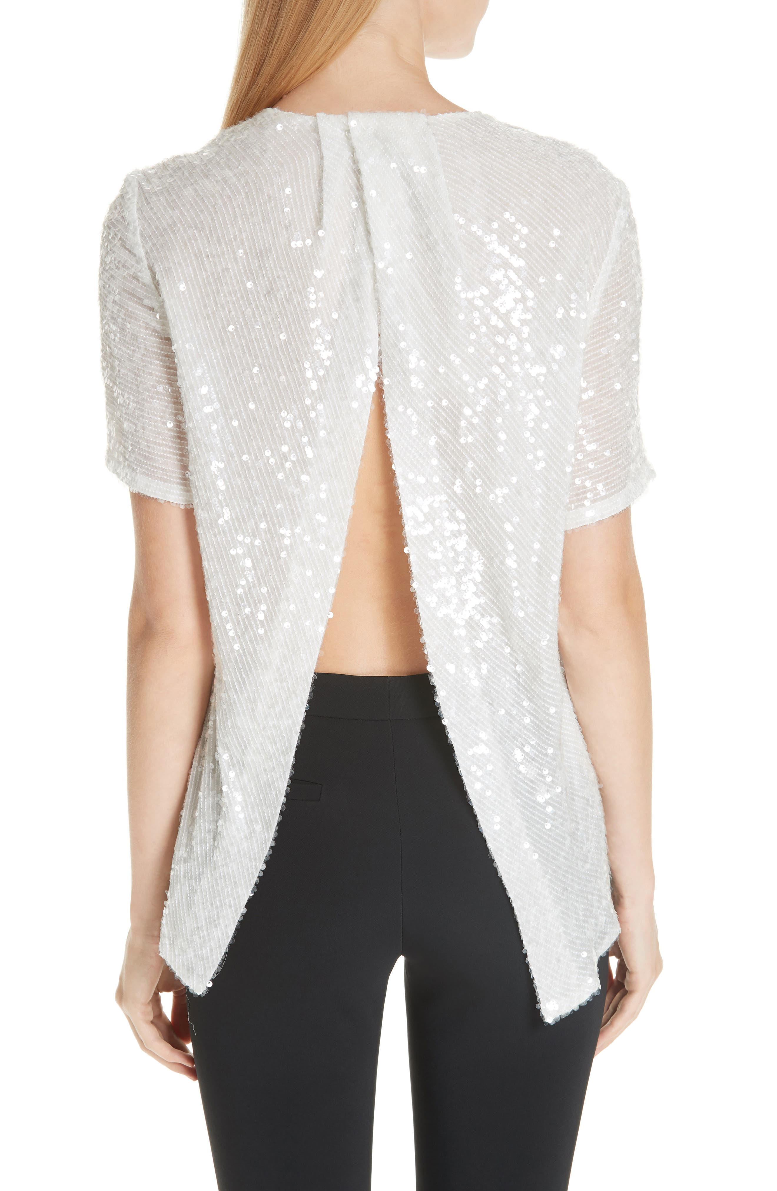 ADAM LIPPES,                             Open Back Sequin Embroidered Blouse,                             Alternate thumbnail 2, color,                             906