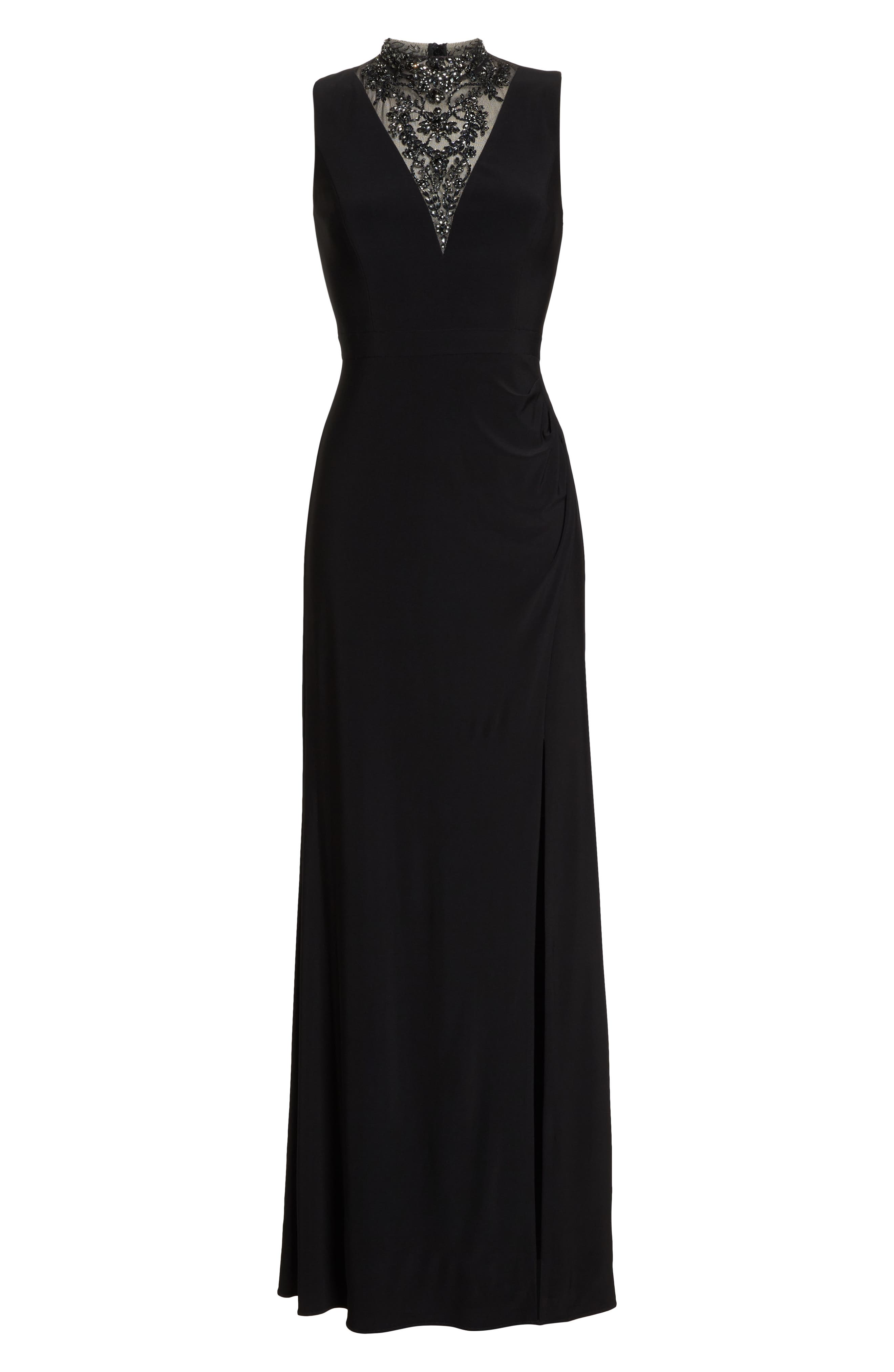 Beaded Illusion Neck Gown,                             Alternate thumbnail 7, color,                             BLACK