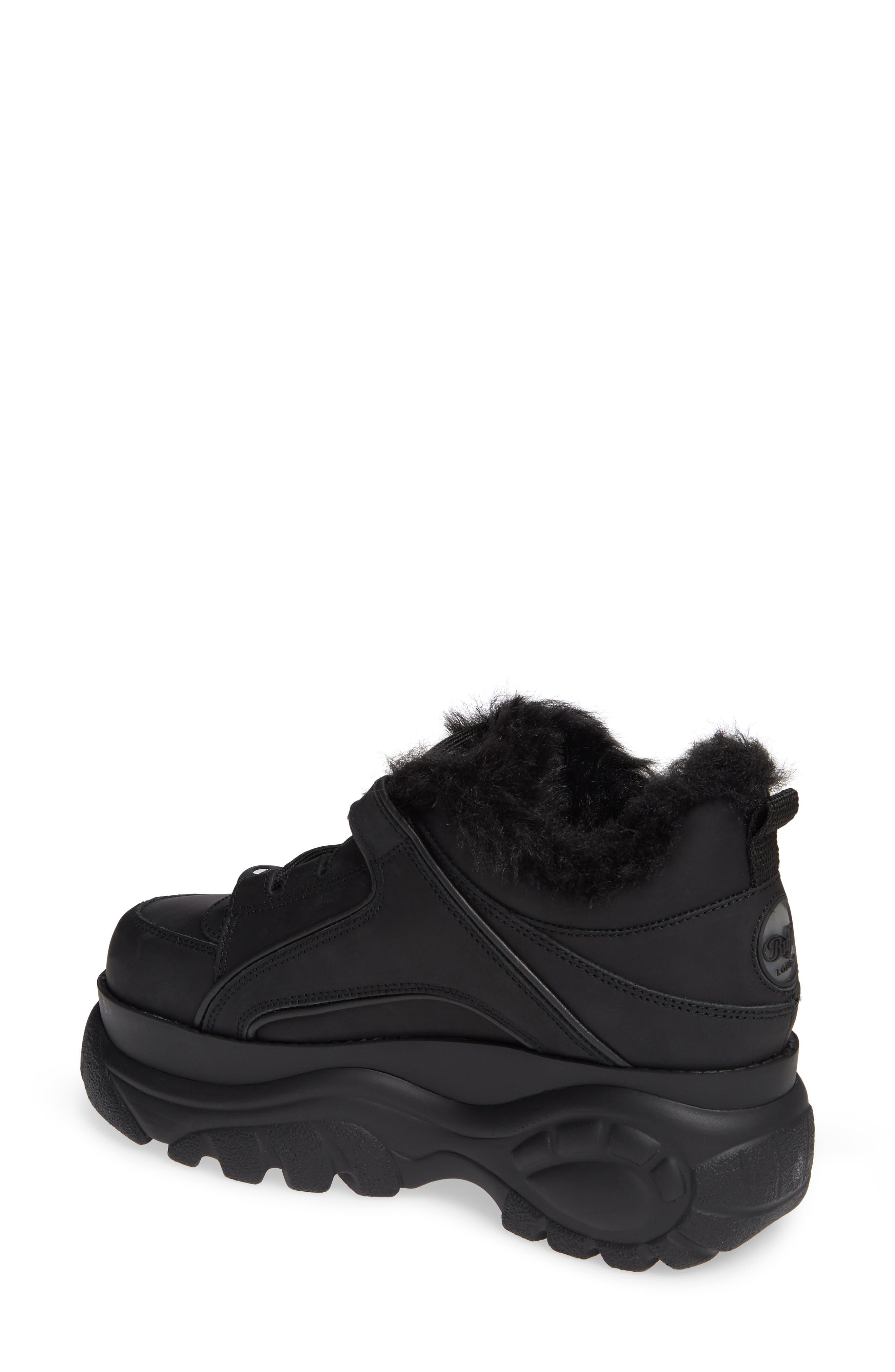 x Buffalo Platform Sneaker with Faux Fur Trim,                             Alternate thumbnail 2, color,                             001
