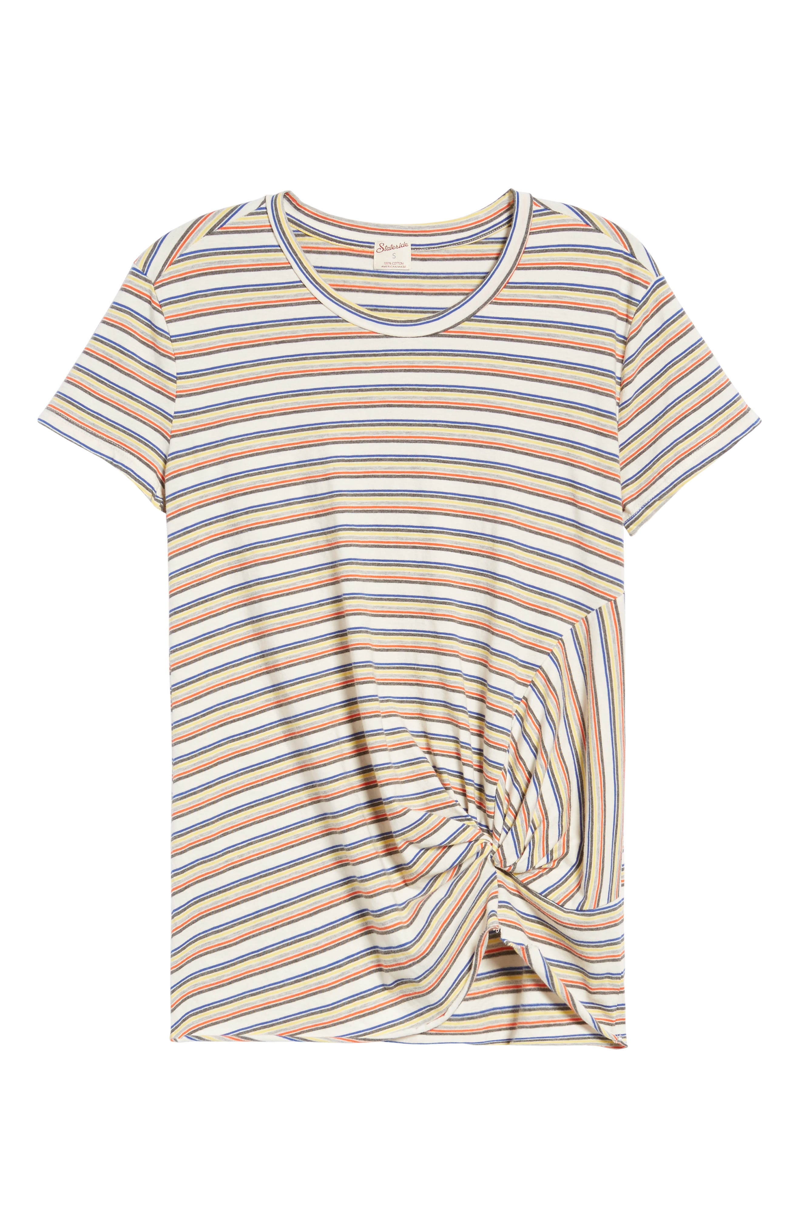 Stripe Twist Front Tee,                             Alternate thumbnail 6, color,