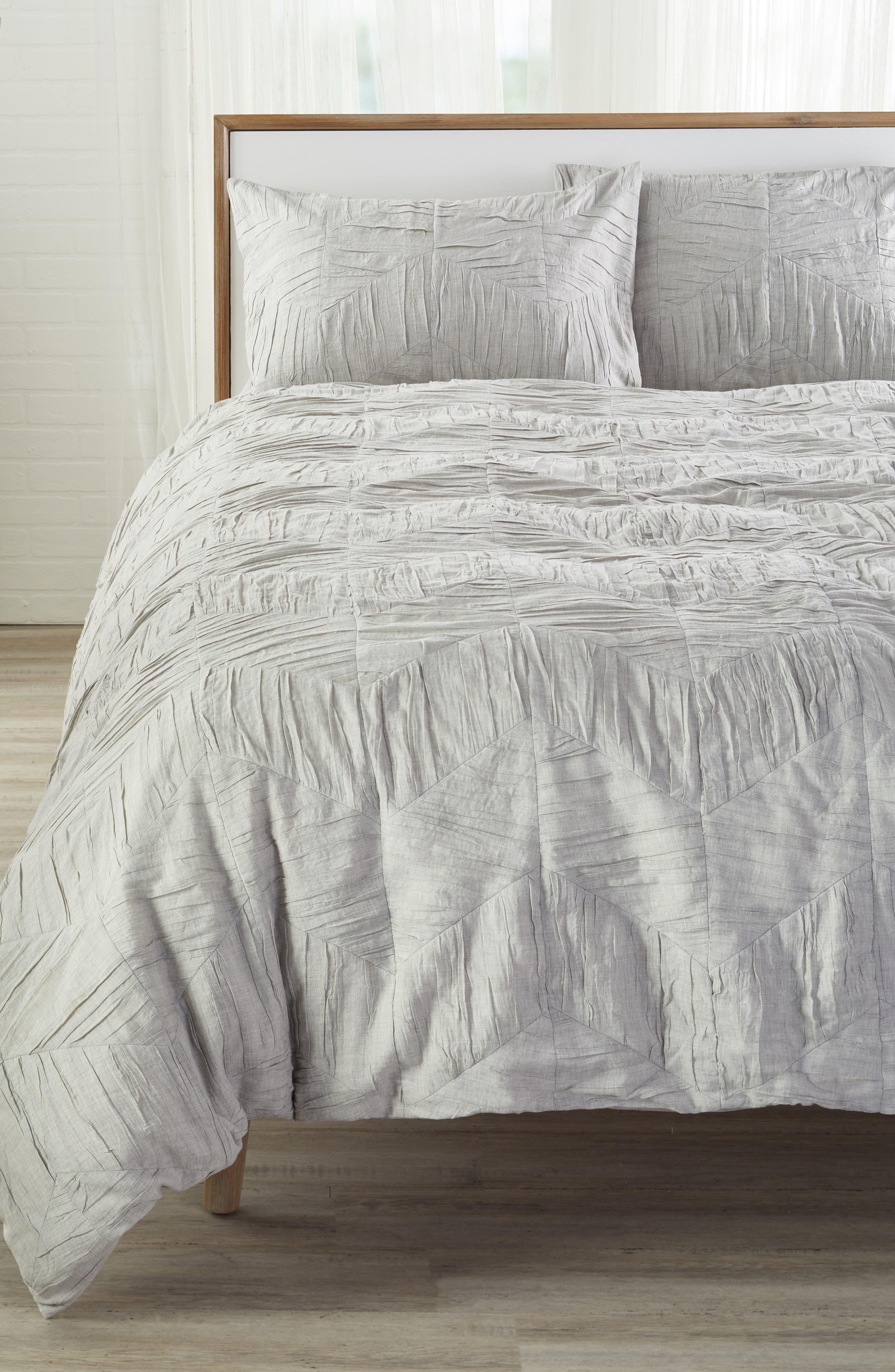 Selene Heathered Duvet Cover,                         Main,                         color, GREY OPAL HEATHER