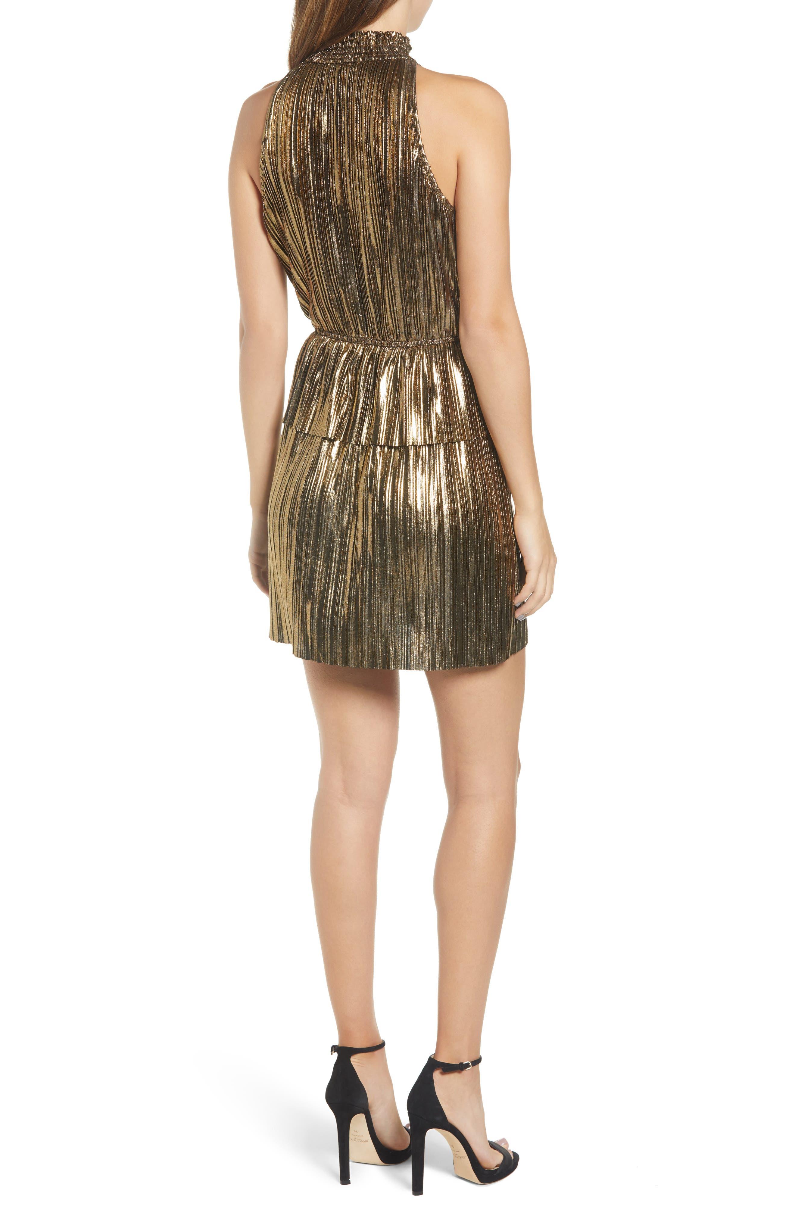 Metallic Plissé Peplum Dress,                             Alternate thumbnail 2, color,                             BRONZE