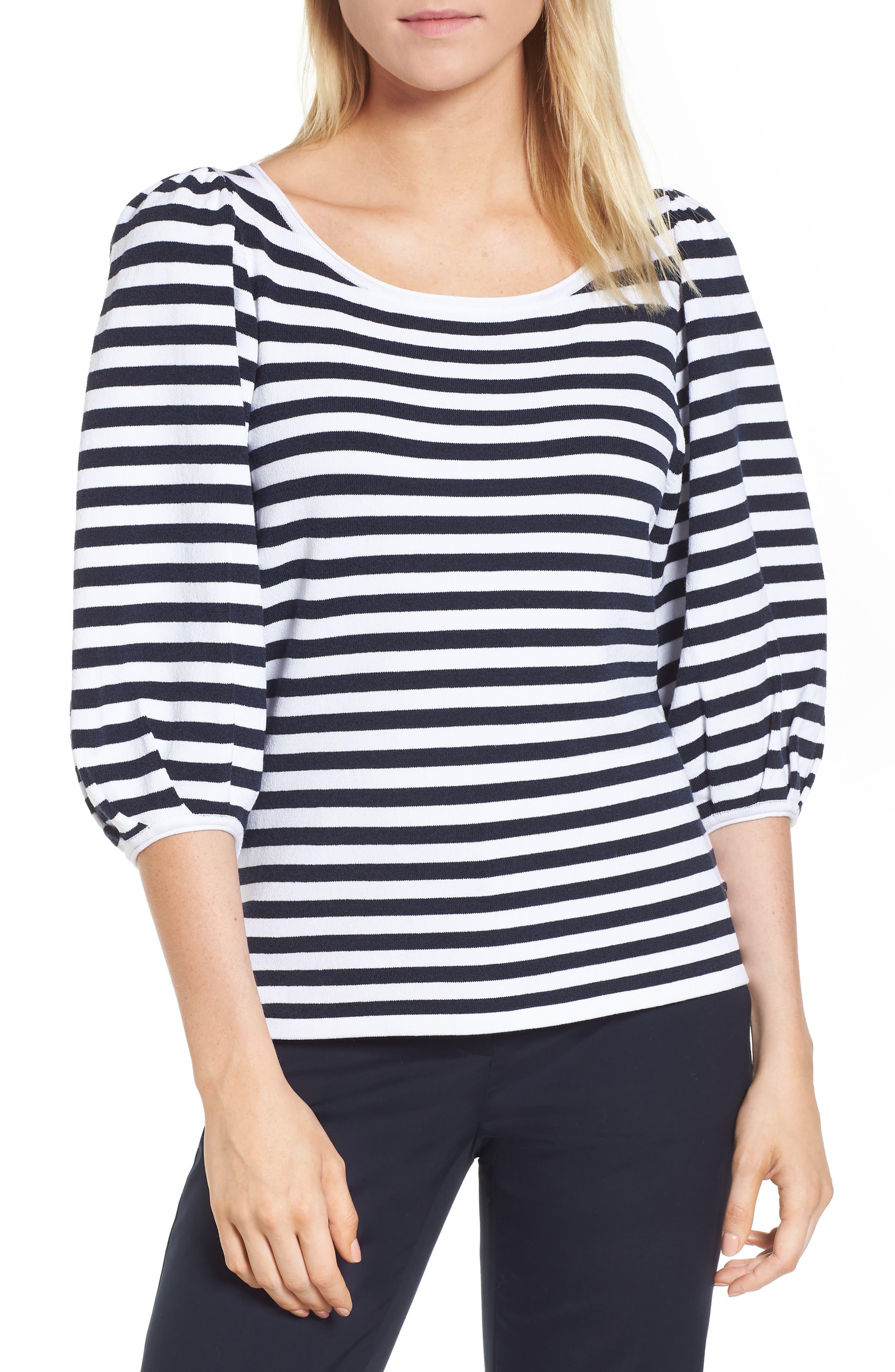 Blouson Sleeve Stripe Sweater,                             Main thumbnail 1, color,
