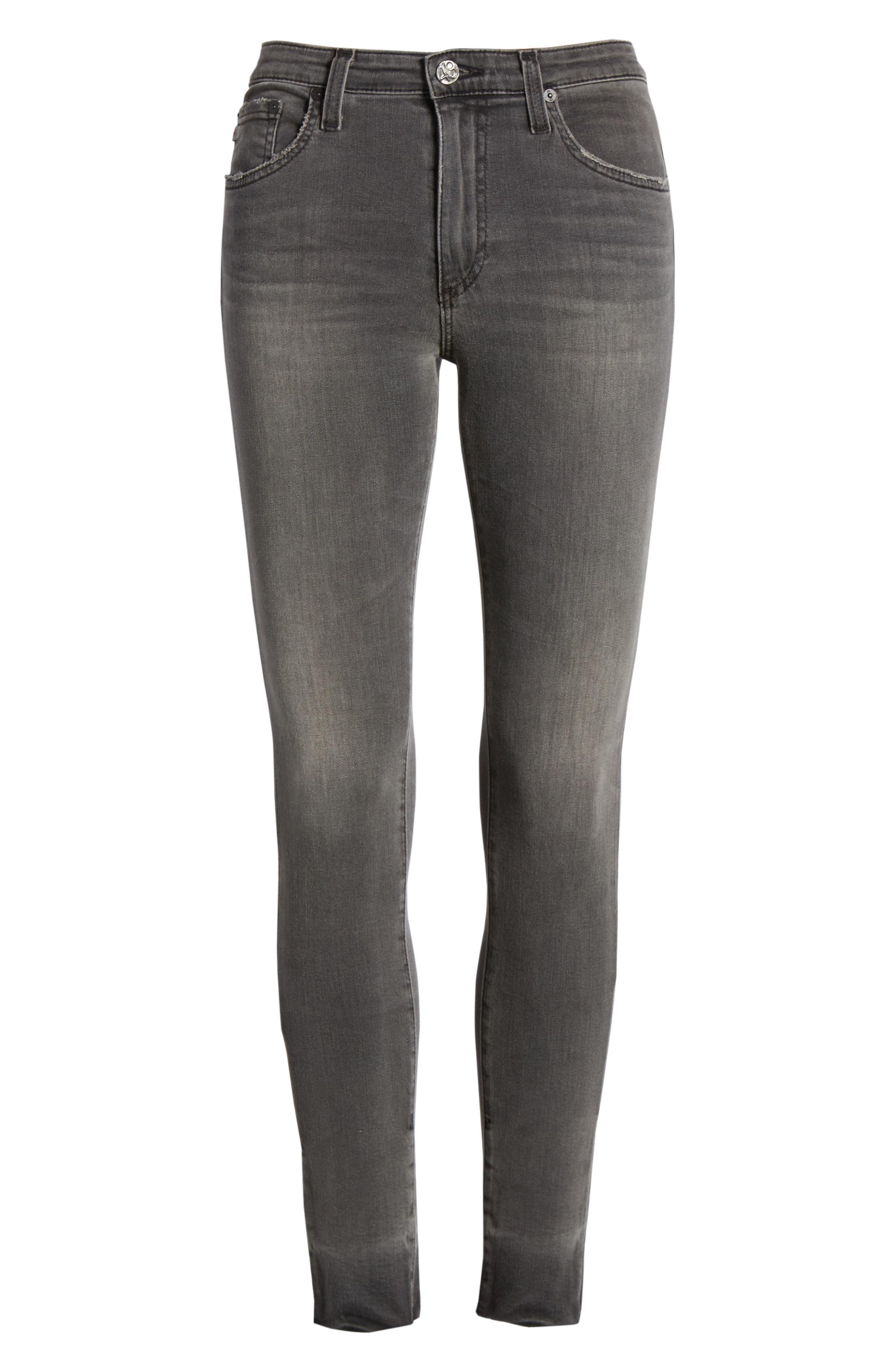 The Farrah High Waist Raw Hem Skinny Jeans,                             Alternate thumbnail 6, color,                             001