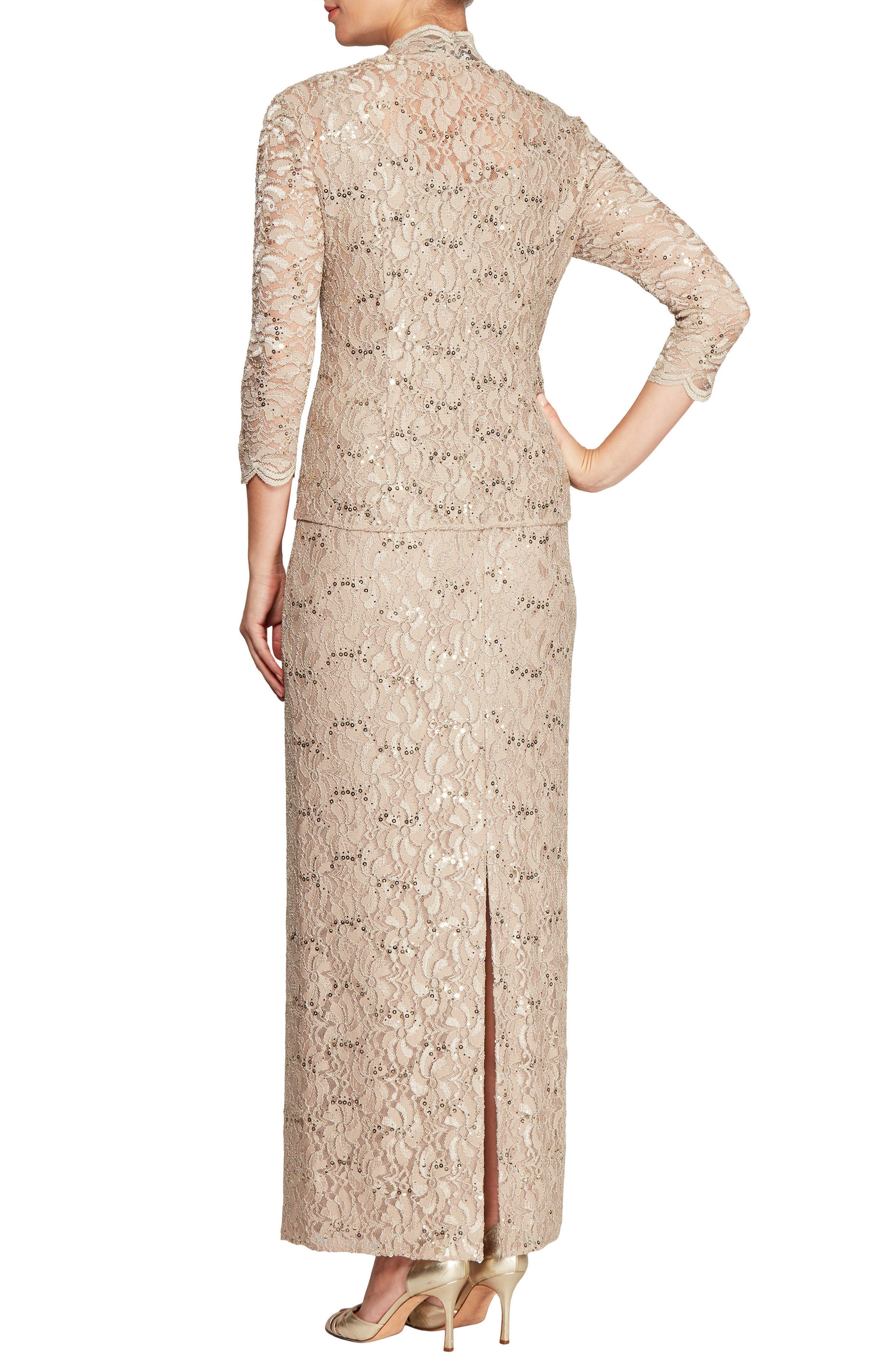 Lace Column Gown with Jacket,                             Alternate thumbnail 2, color,                             251