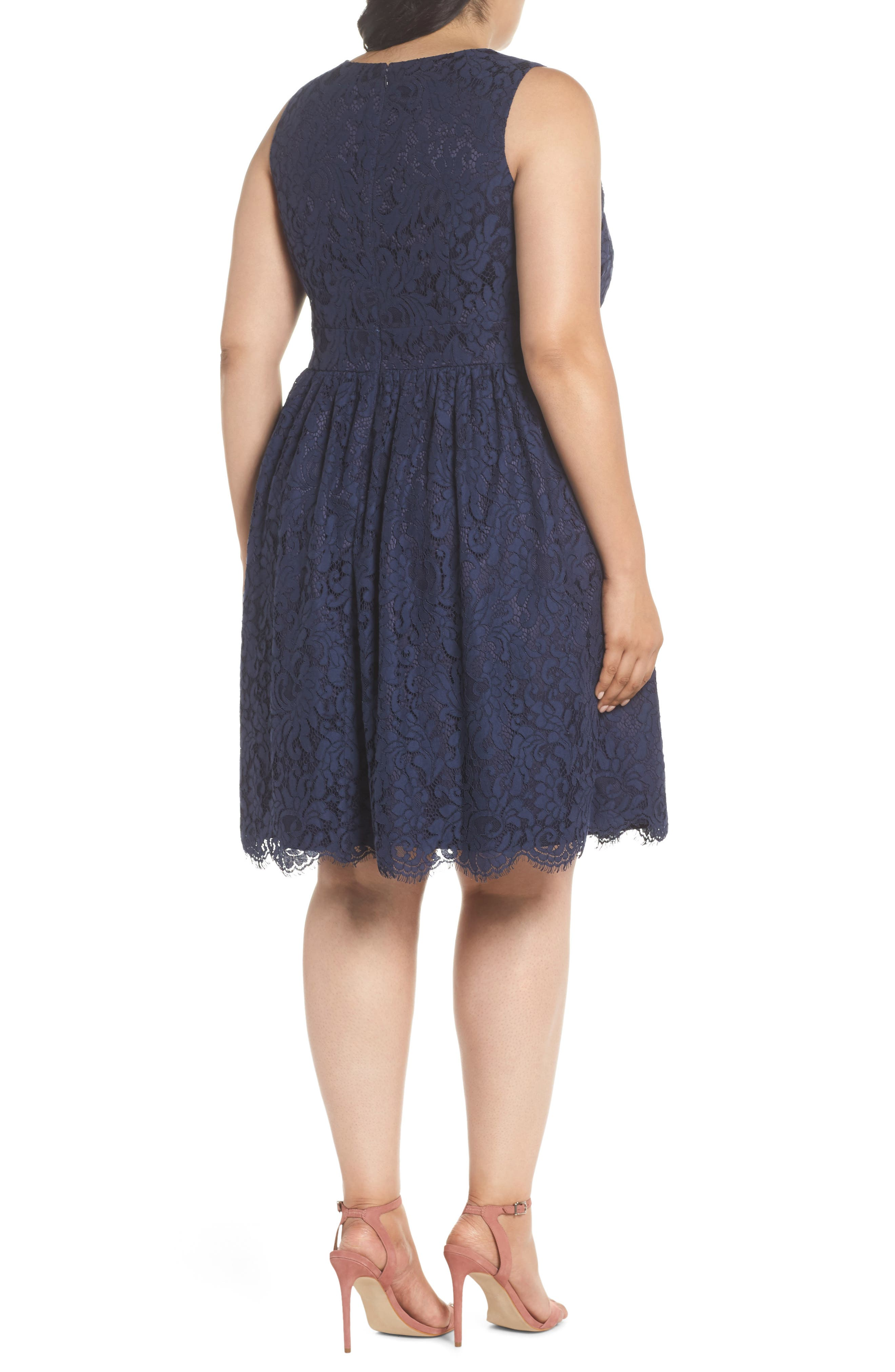 Fit & Flare Lace Dress,                             Alternate thumbnail 2, color,