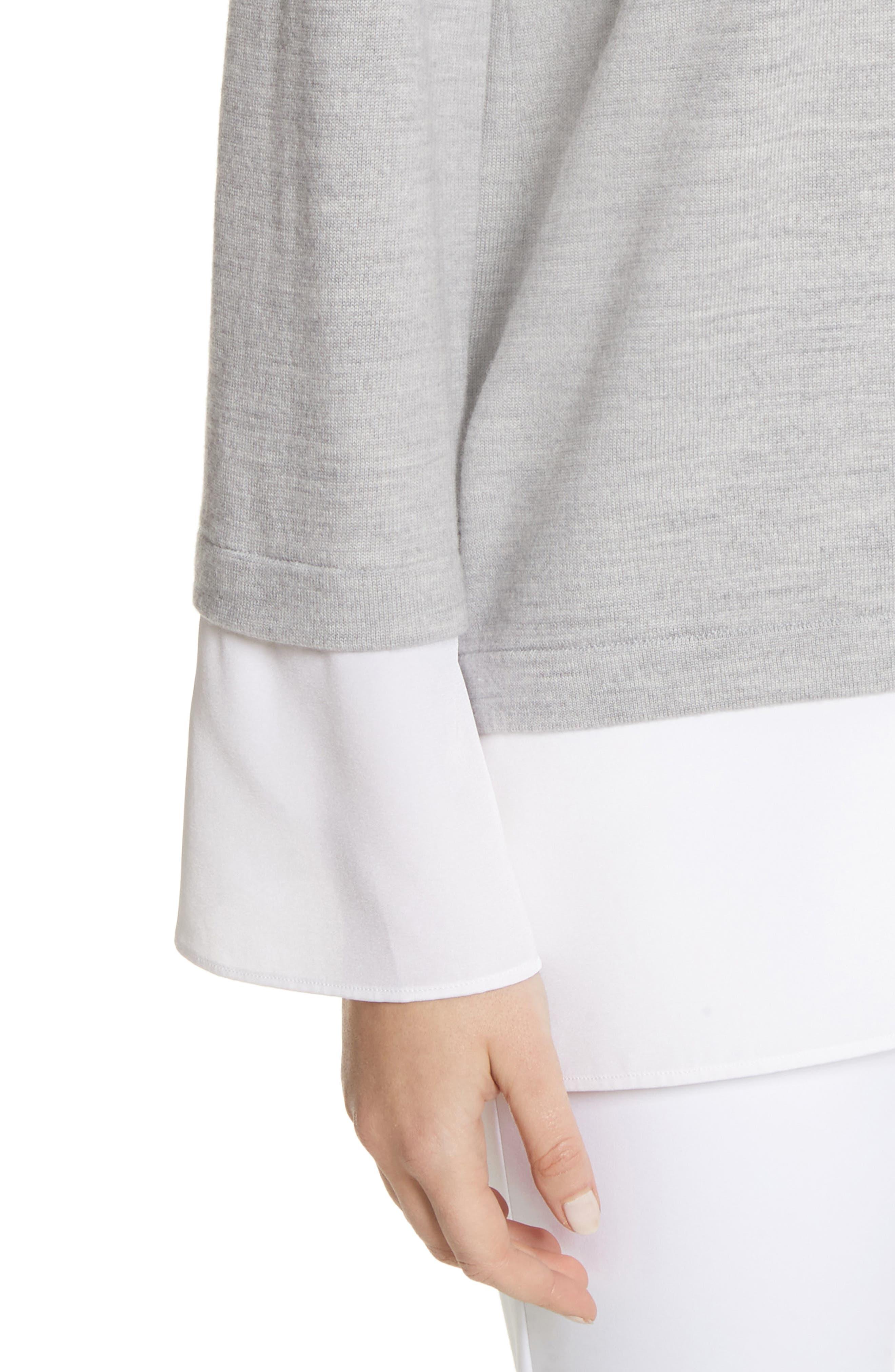 Layered Hem Wool Sweater,                             Alternate thumbnail 4, color,                             050