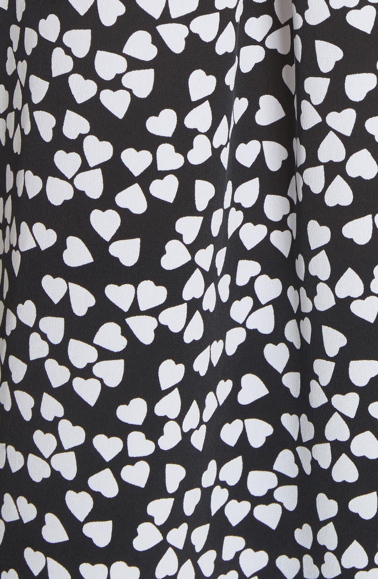 Essential Heart Print Silk Shirt,                             Alternate thumbnail 5, color,                             TRUE BLACK-BRIGHT WHITE