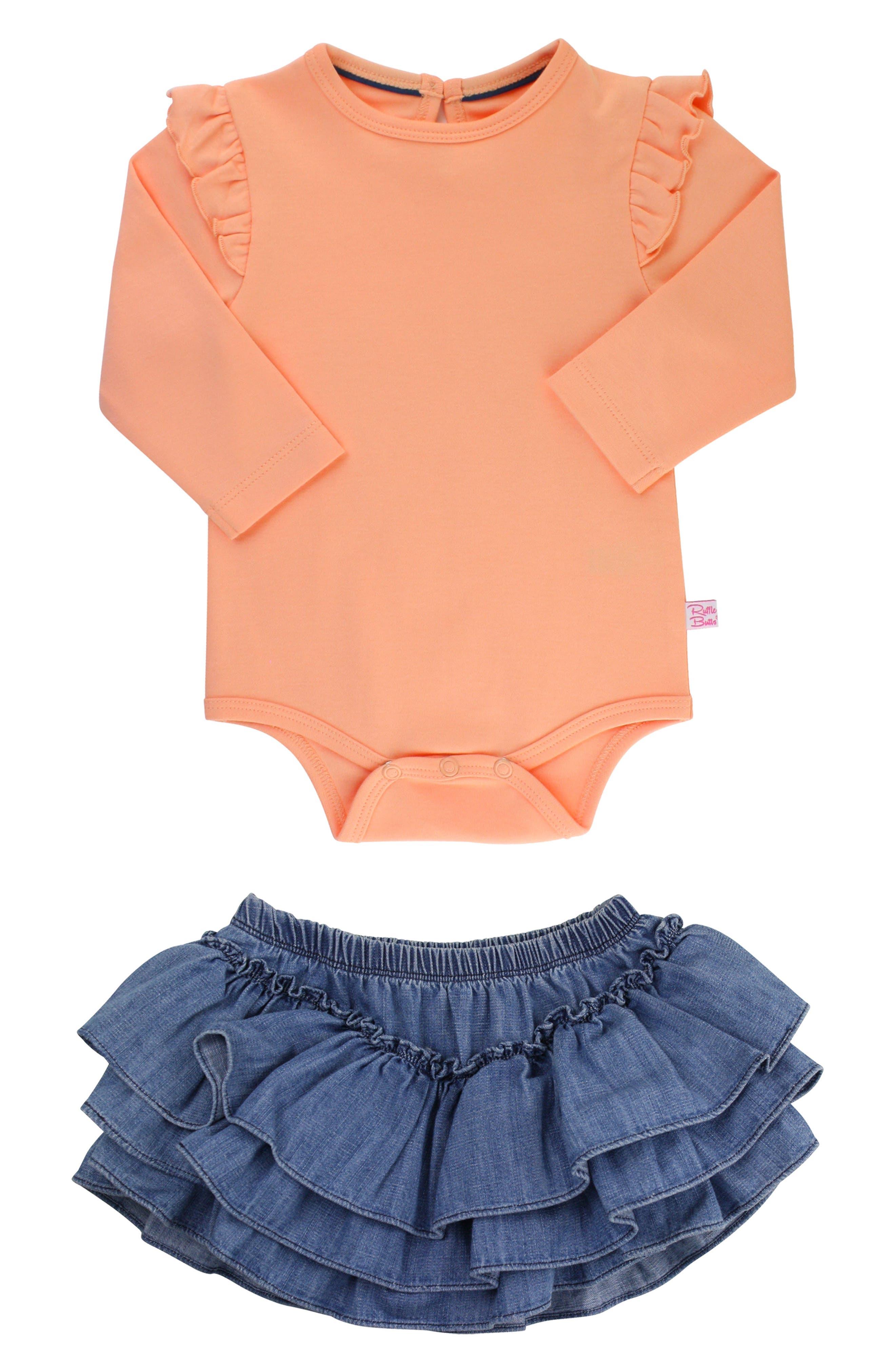Apricot Bodysuit & Skirted Bloomers Set,                             Main thumbnail 1, color,                             DENIM