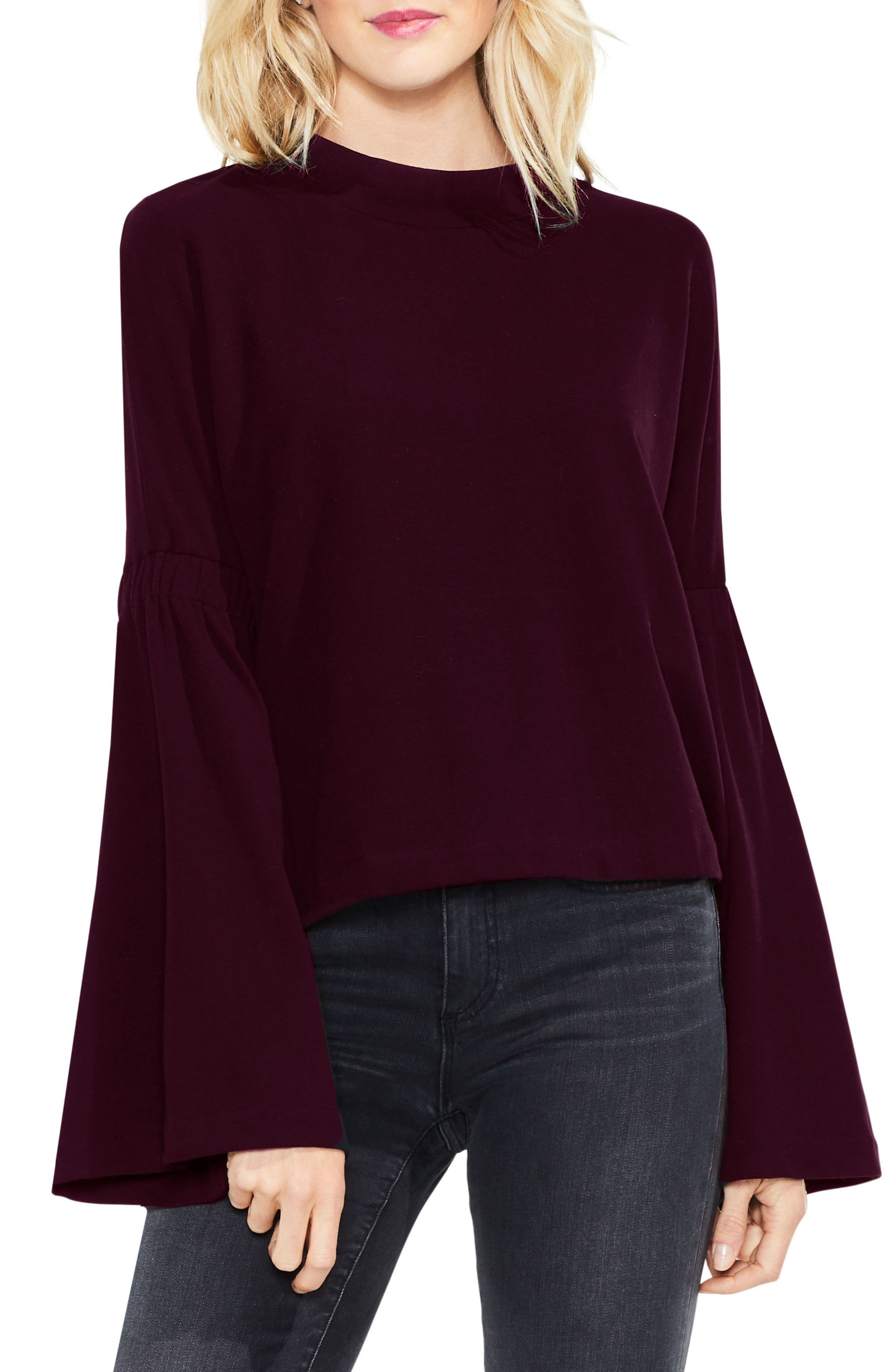 Mock Neck Bell Sleeve Top,                             Main thumbnail 4, color,