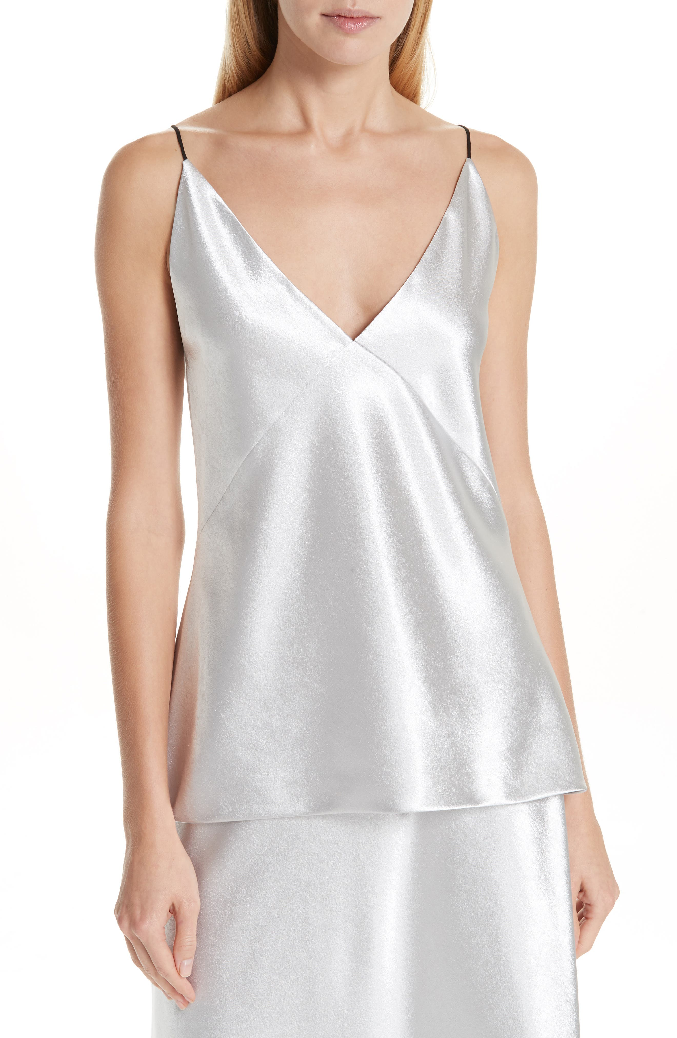 V-Neck Bias Camisole,                             Main thumbnail 1, color,                             SILVER