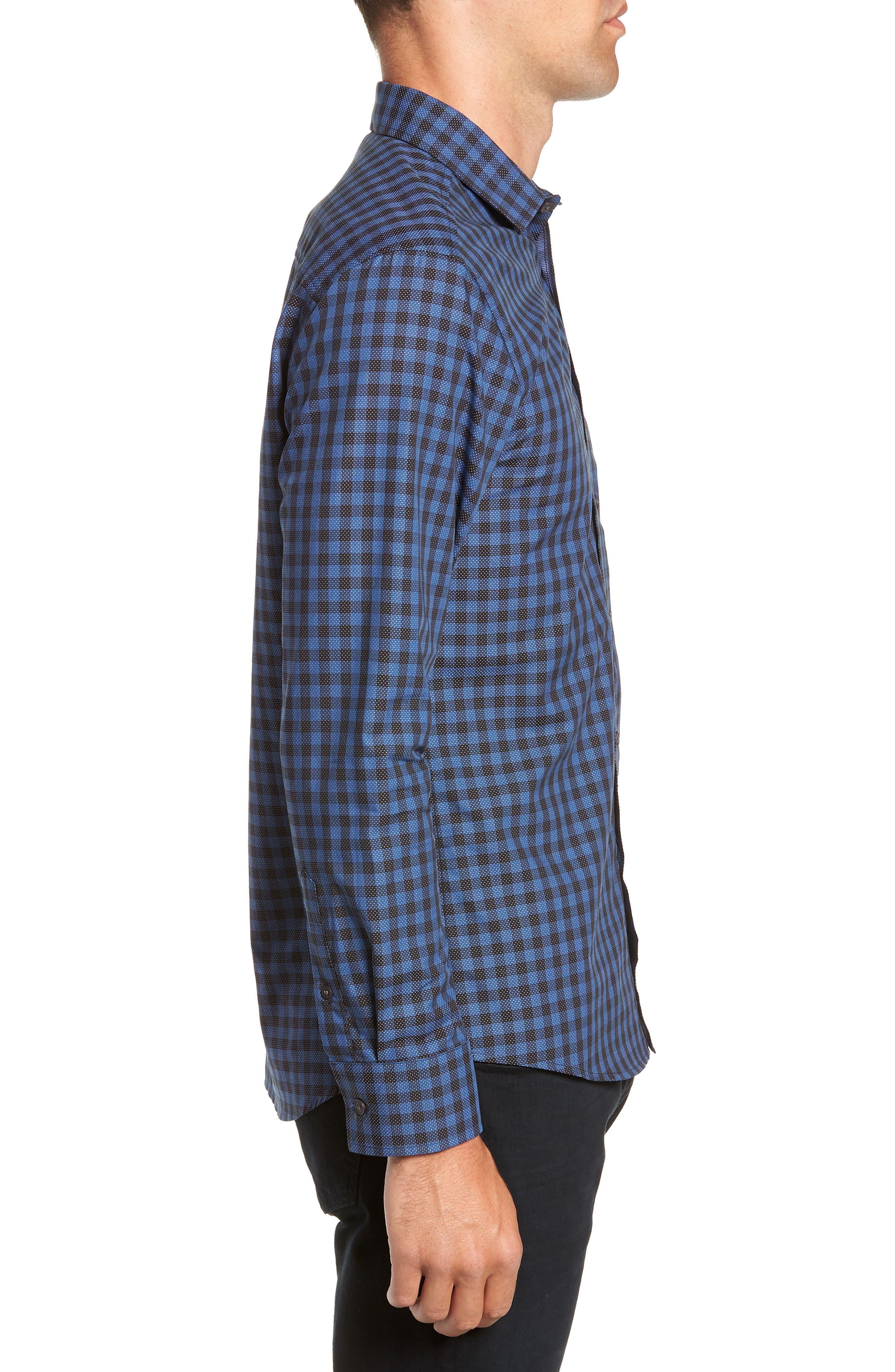 Long Sleeve Check & Dobby Sport Shirt,                             Alternate thumbnail 4, color,                             BLUE BLACK CHECK WHITE DOBBY