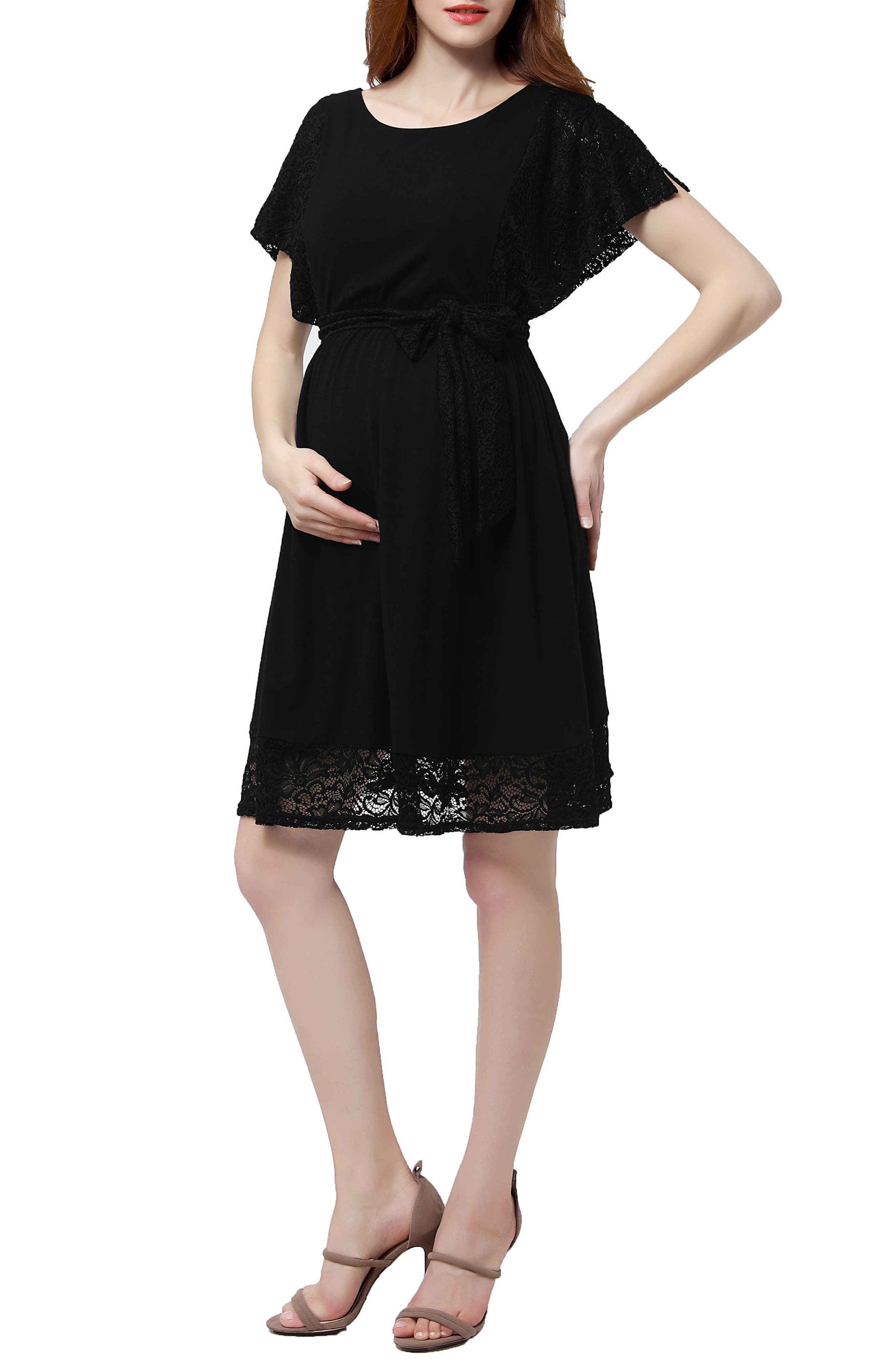 Alison Lace Trim Maternity Dress,                             Main thumbnail 1, color,                             001