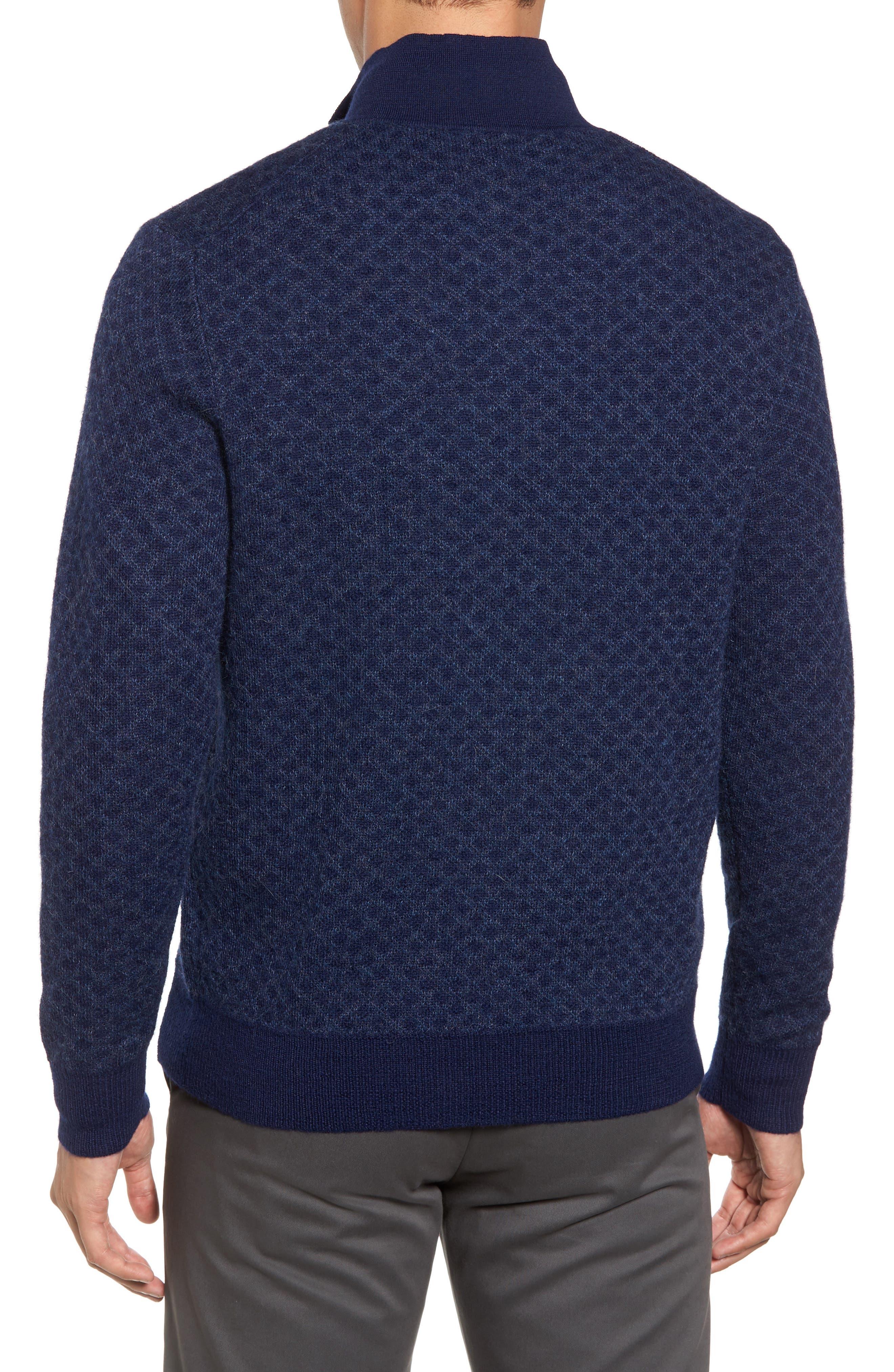 Diamond Quarter Zip Alpaca Sweater,                             Alternate thumbnail 4, color,