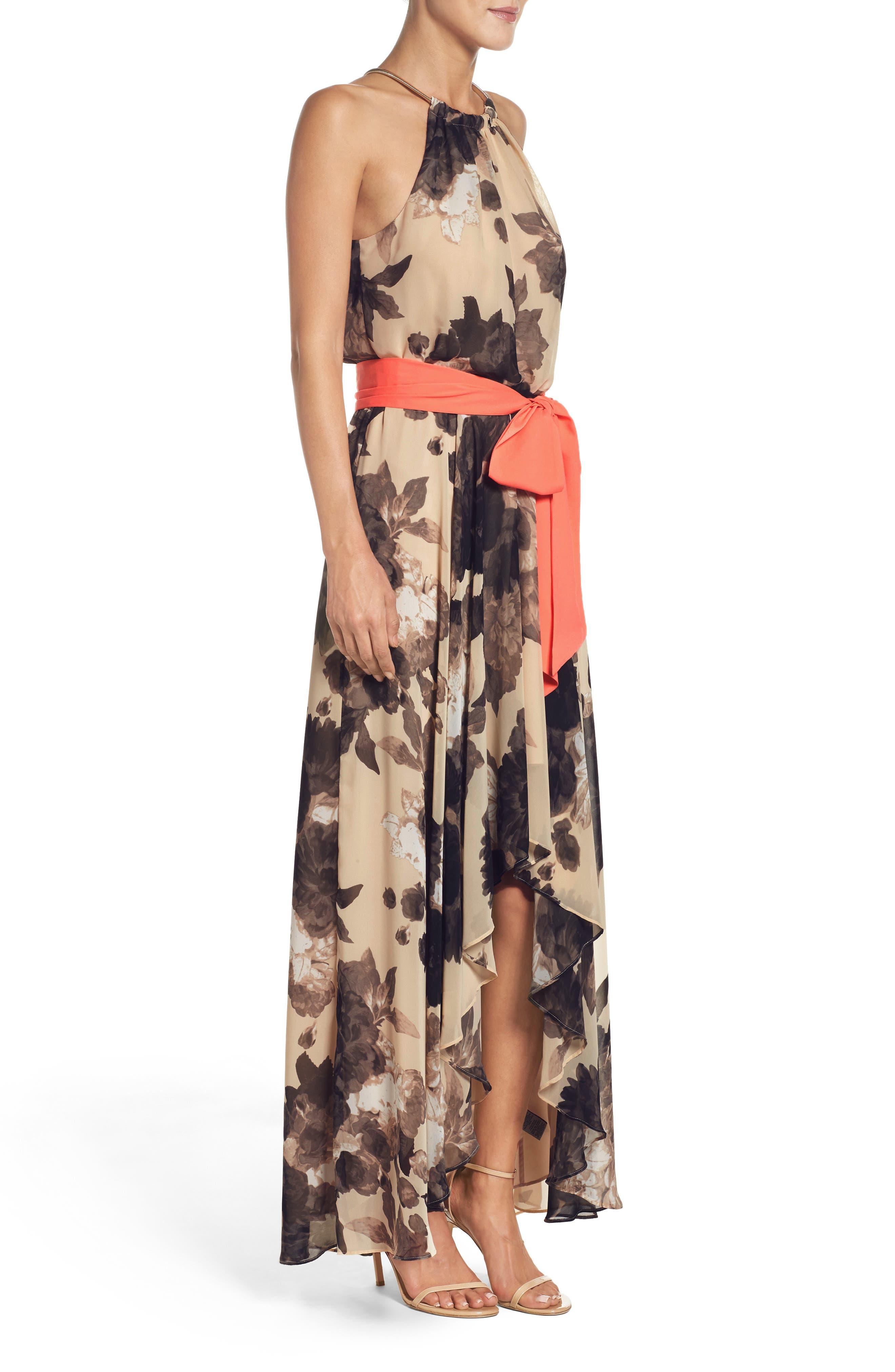 Floral Print Halter Chiffon Maxi Dress,                             Alternate thumbnail 3, color,                             TAUPE/ BLACK