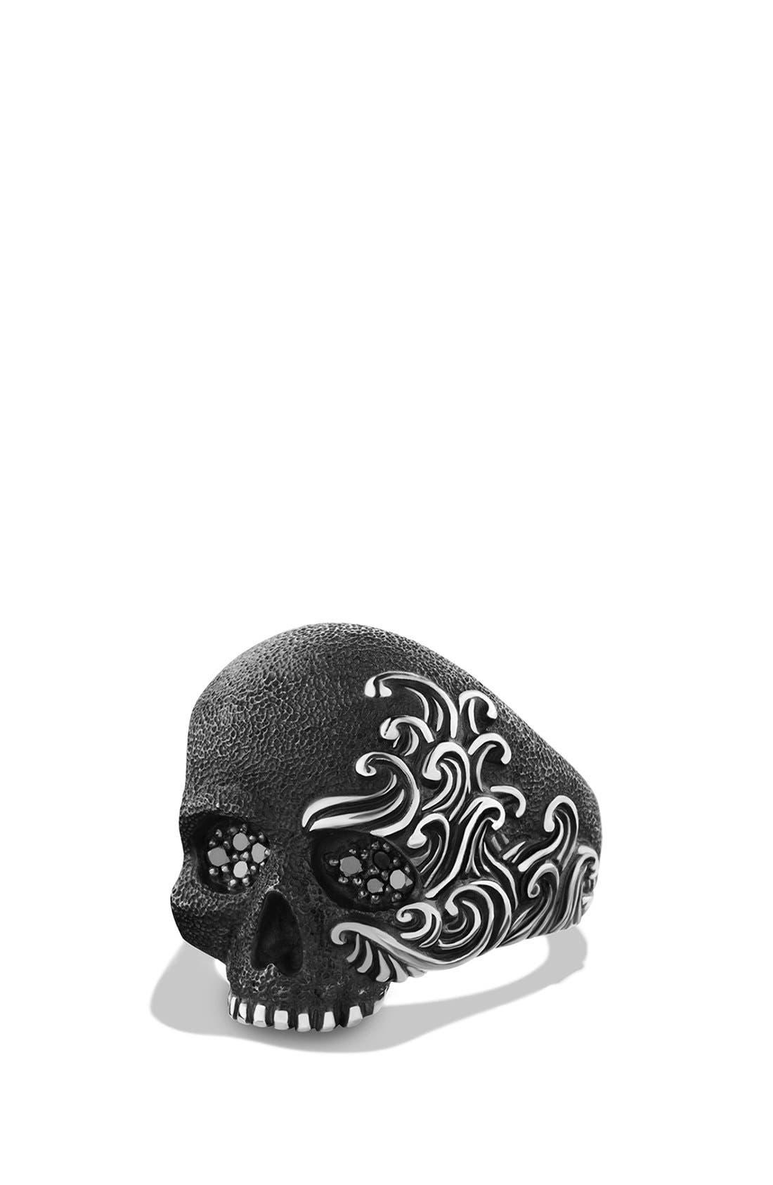 'Waves' Large Skull Ring with Black Diamonds,                         Main,                         color, BLACK DIAMOND