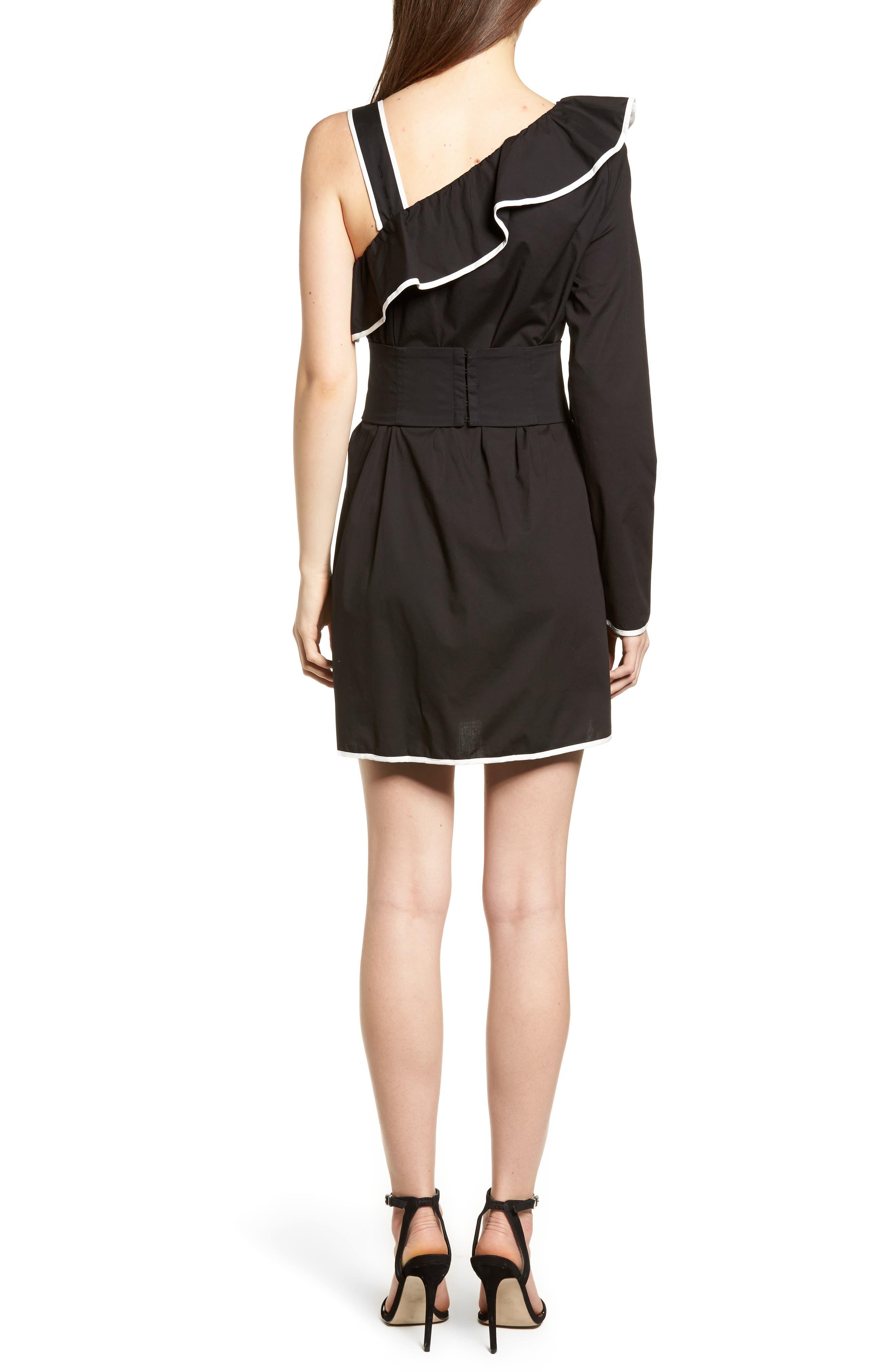 Helen One-Shoulder Ruffle Dress,                             Alternate thumbnail 2, color,                             001