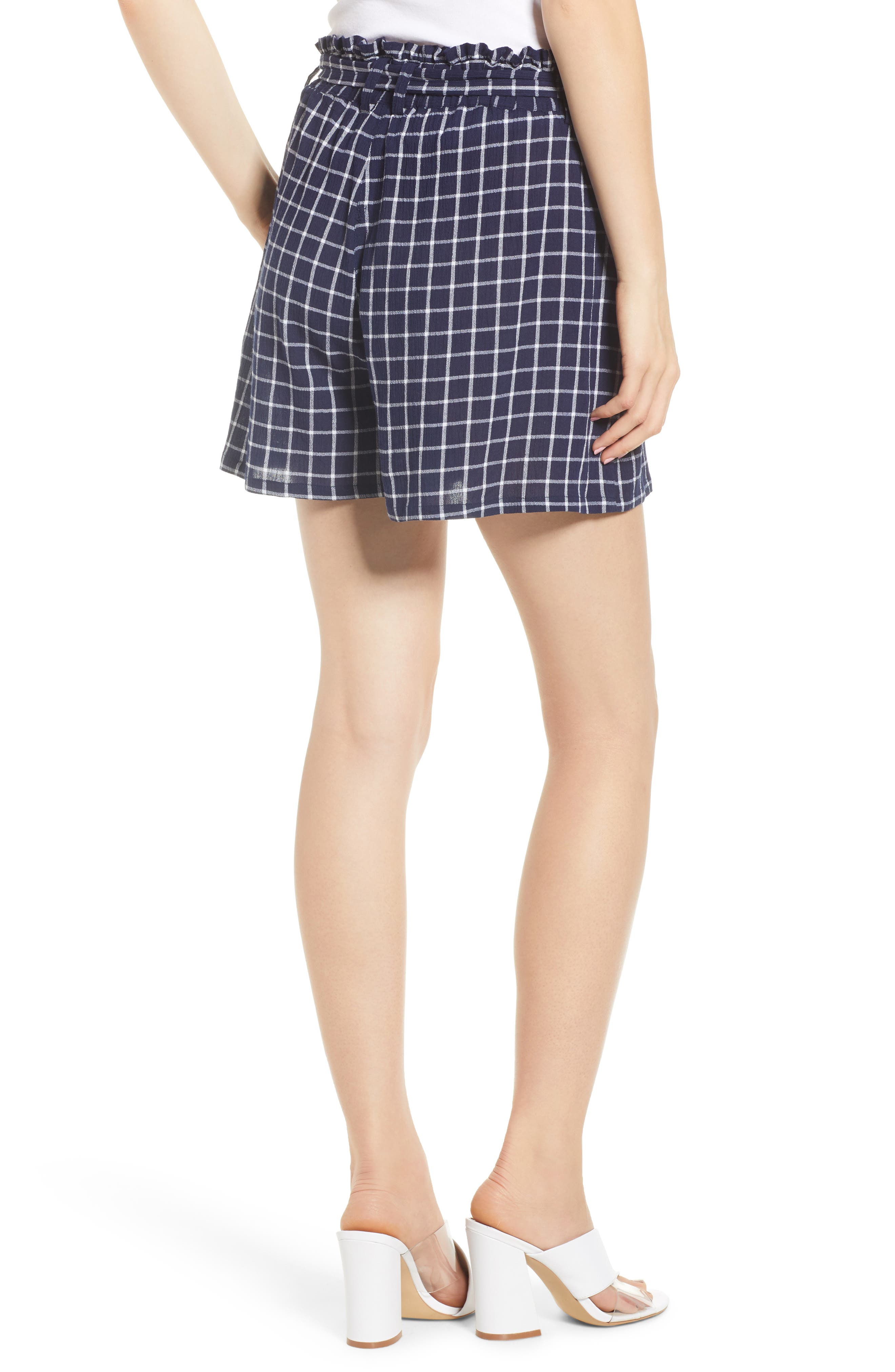 Plaid Paper Bag Waist Shorts,                             Alternate thumbnail 2, color,                             401
