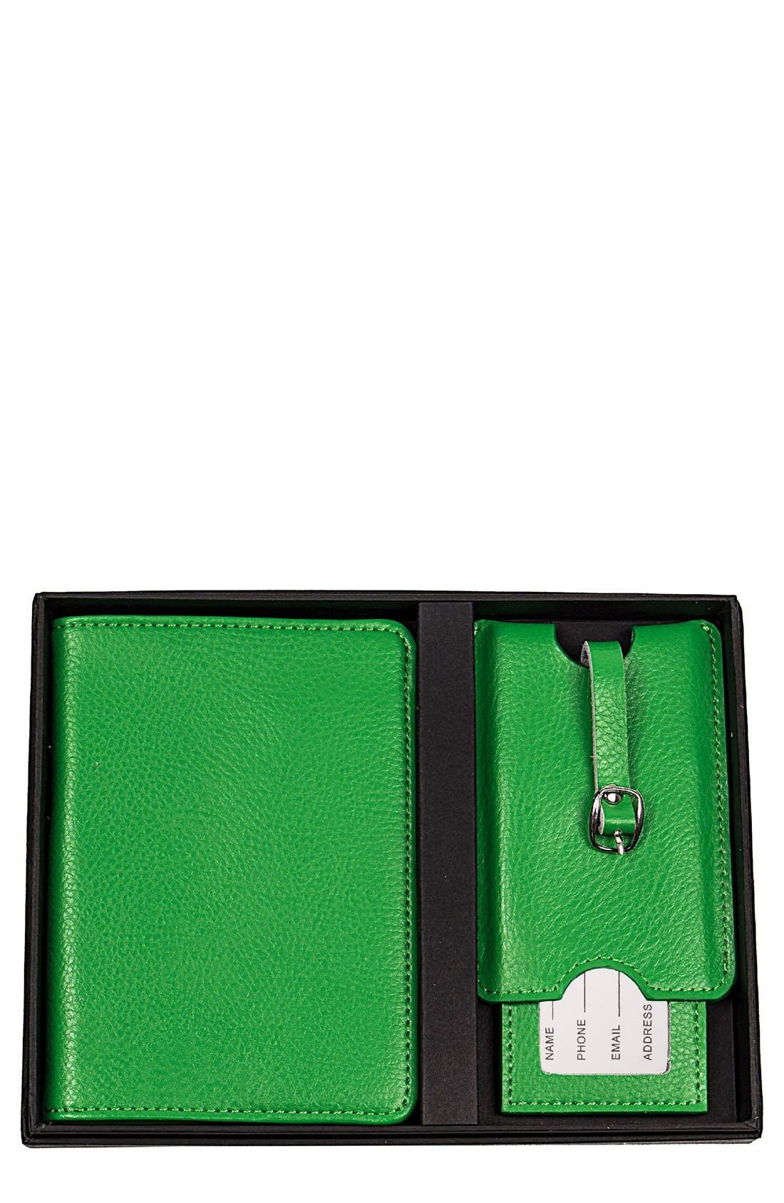 Monogram Passport Case & Luggage Tag,                             Main thumbnail 1, color,                             GREEN