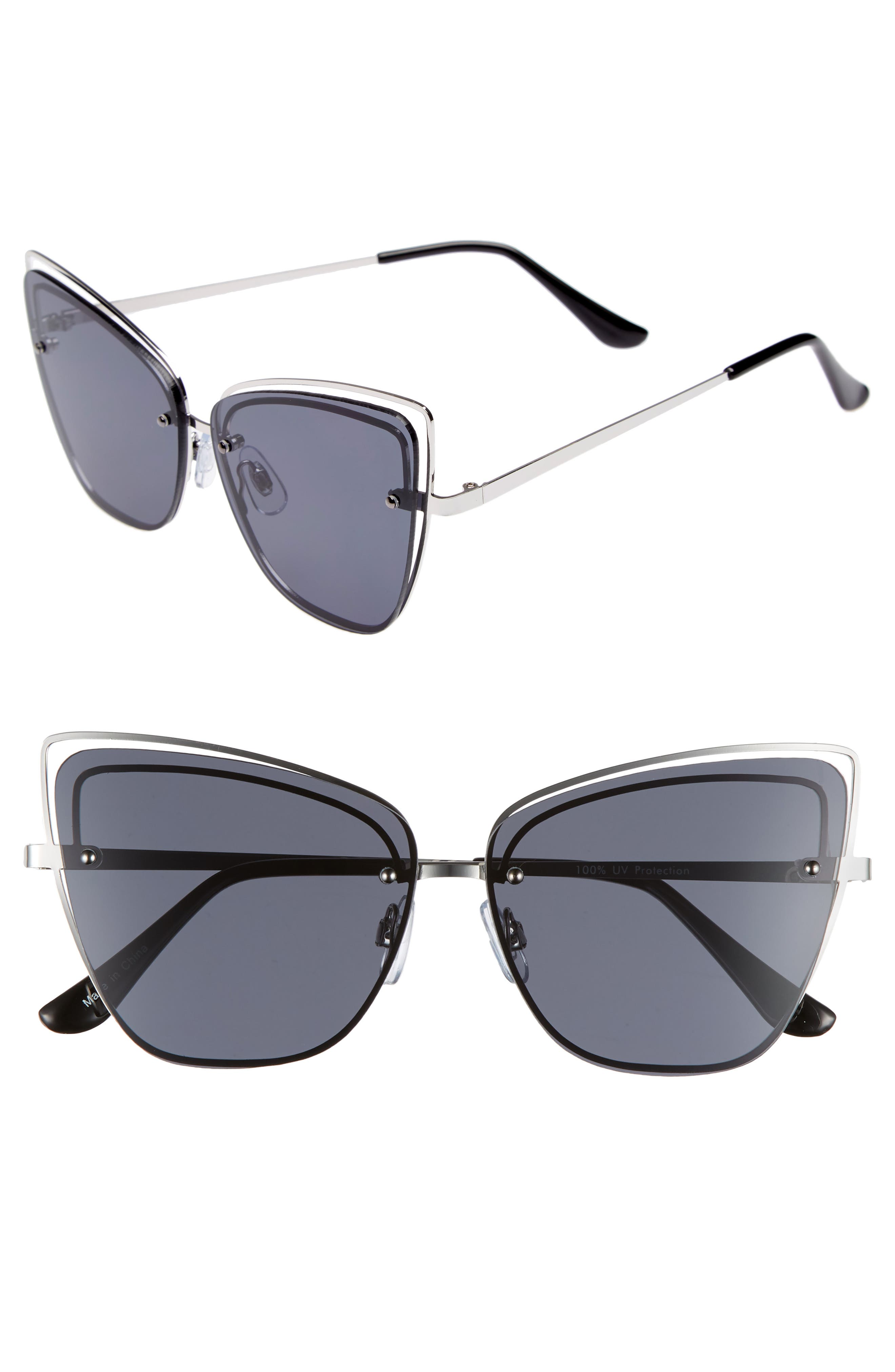 Dainty 53mm Rimless Cat Eye Sunglasses,                             Main thumbnail 1, color,                             SILVER/ BLACK