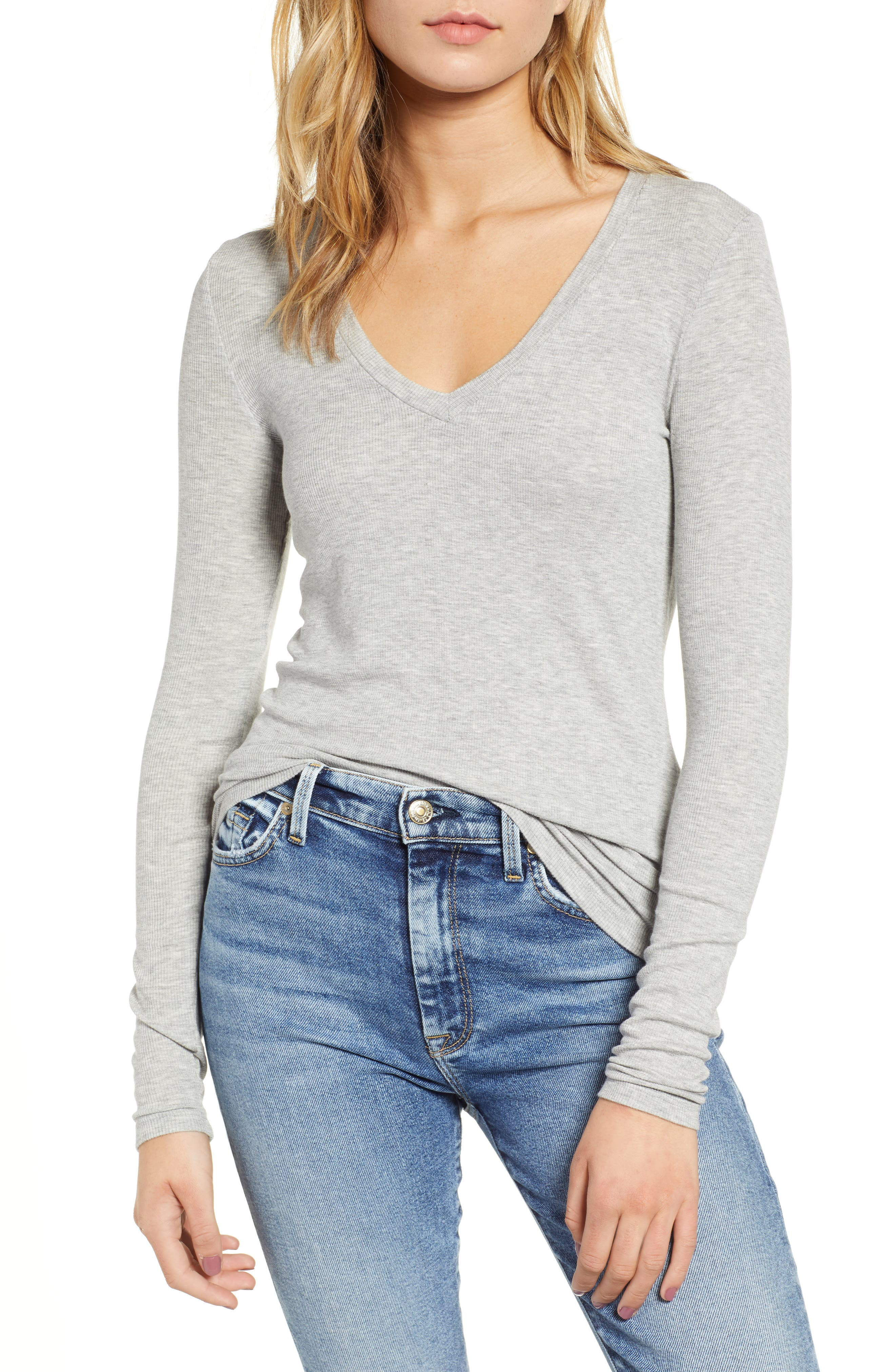 Ribbed V-Neck Tee,                         Main,                         color, HEATHER GREY