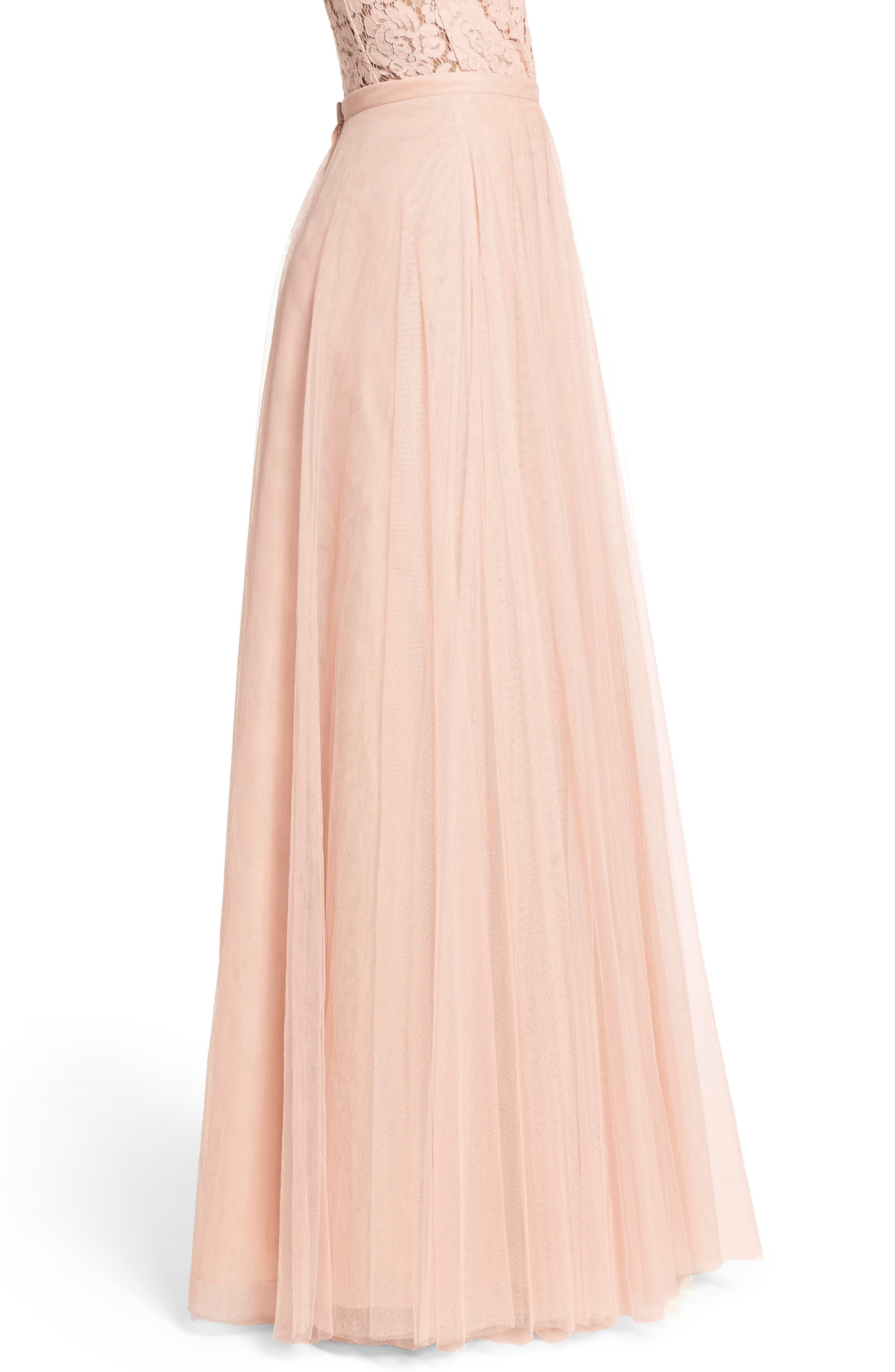 Winslow Long Tulle A-Line Skirt,                             Alternate thumbnail 4, color,                             CAMEO PINK