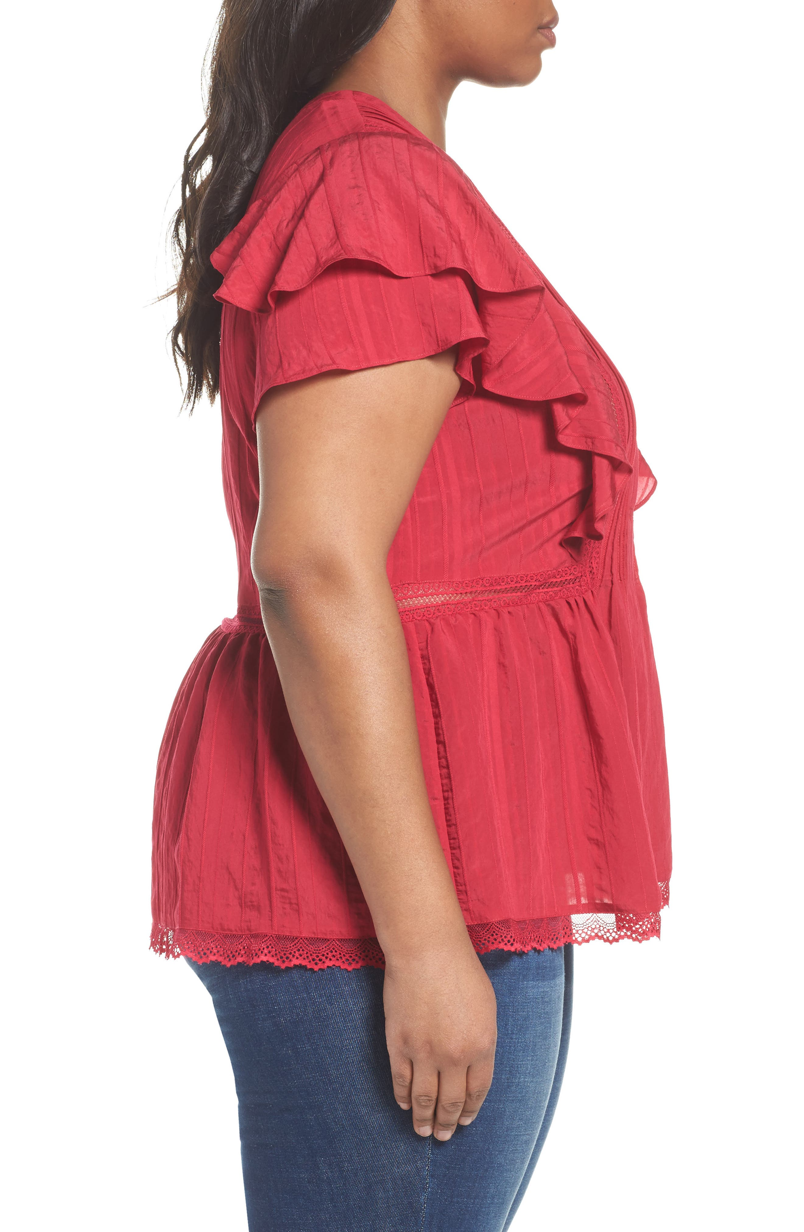 Lace Trim Pintuck Pleated Top,                             Alternate thumbnail 8, color,