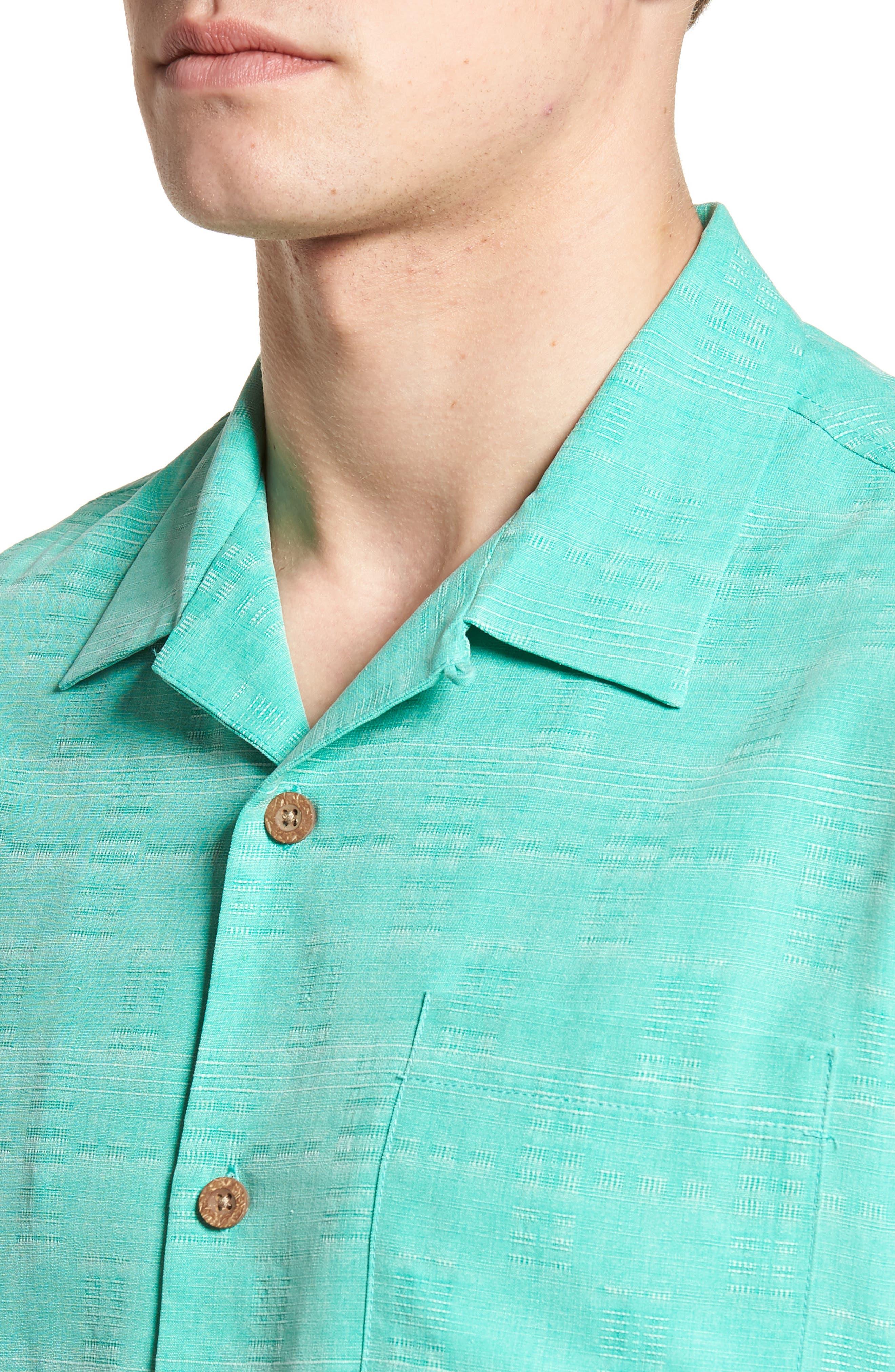 'Geo-Rific Jacquard' Original Fit Silk Camp Shirt,                             Alternate thumbnail 26, color,