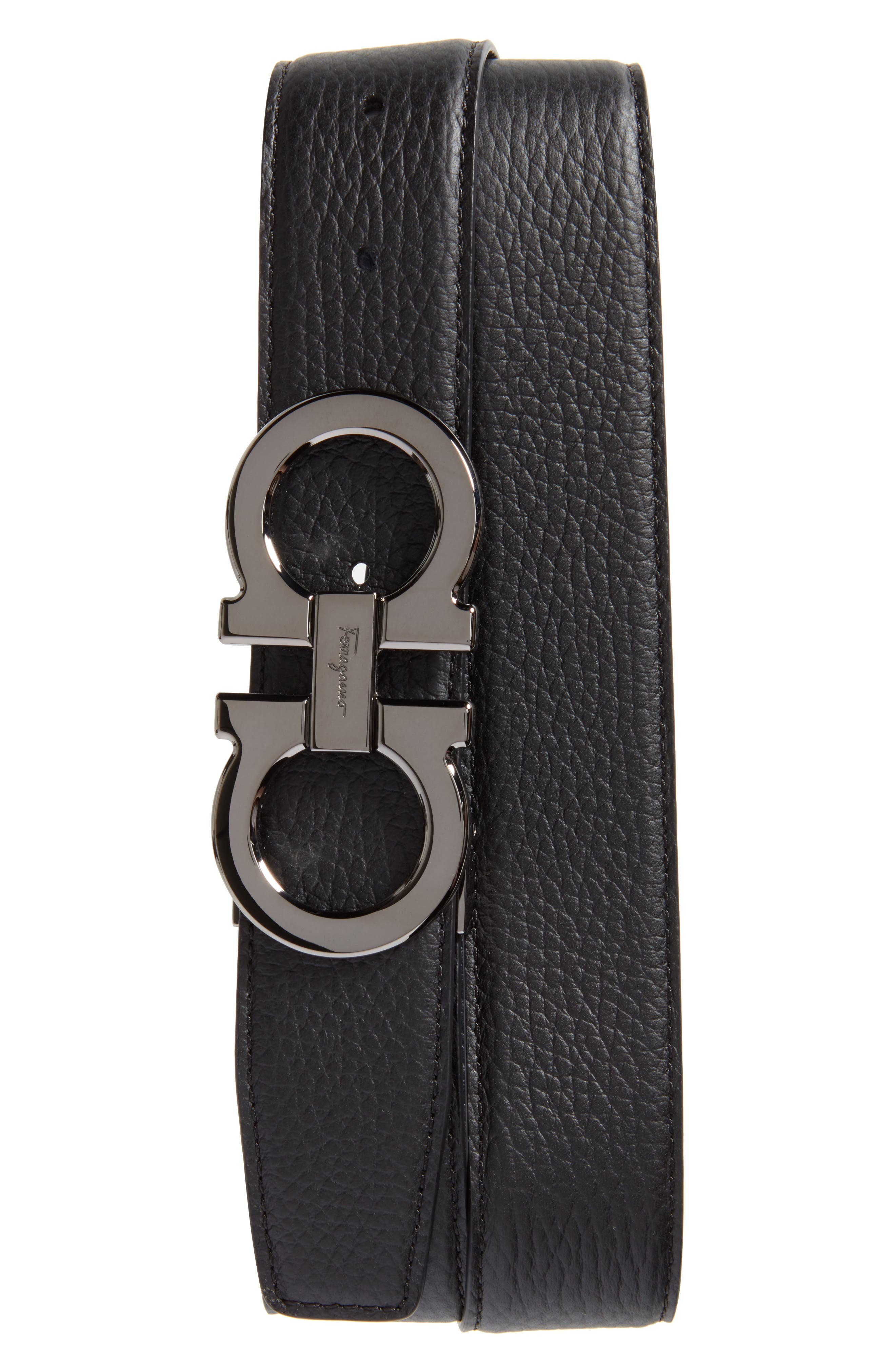 Double Gancio Leather Belt,                         Main,                         color, BLACK/ BLUE MARINE