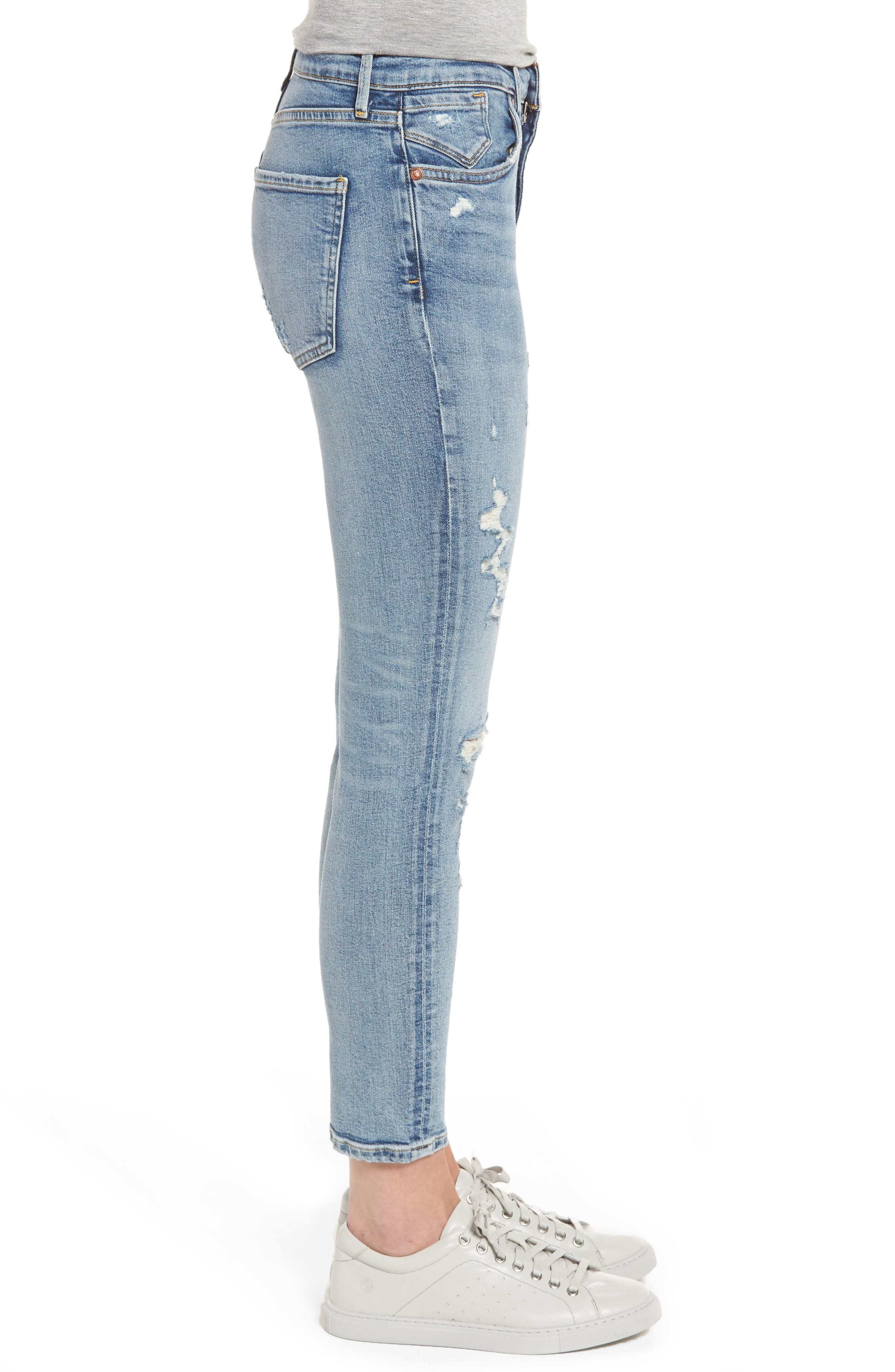 Sophie Distressed High Waist Skinny Jeans,                             Alternate thumbnail 3, color,                             OUTSIDER