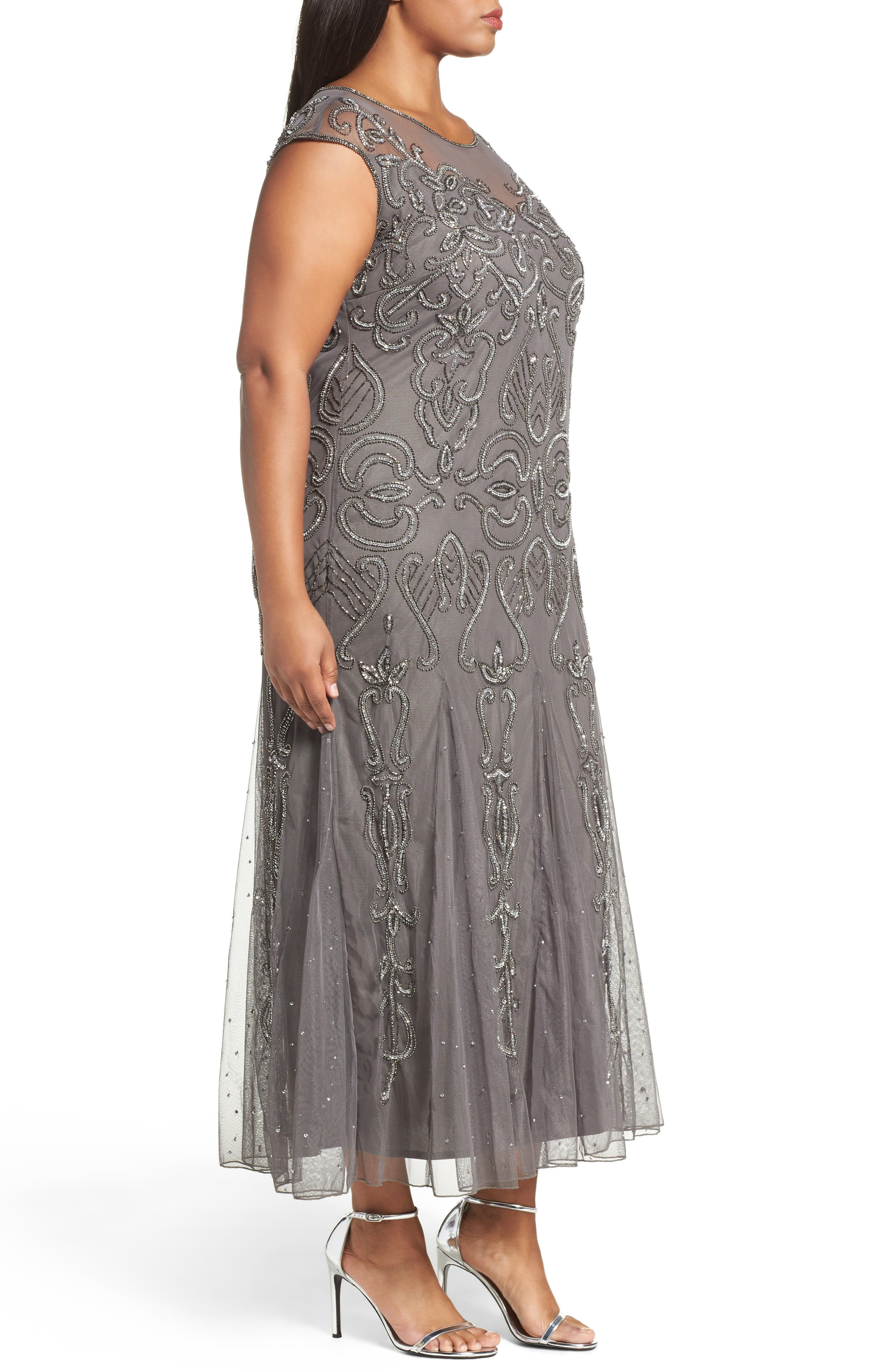 Illusion Neck Beaded A-Line Gown,                             Alternate thumbnail 13, color,