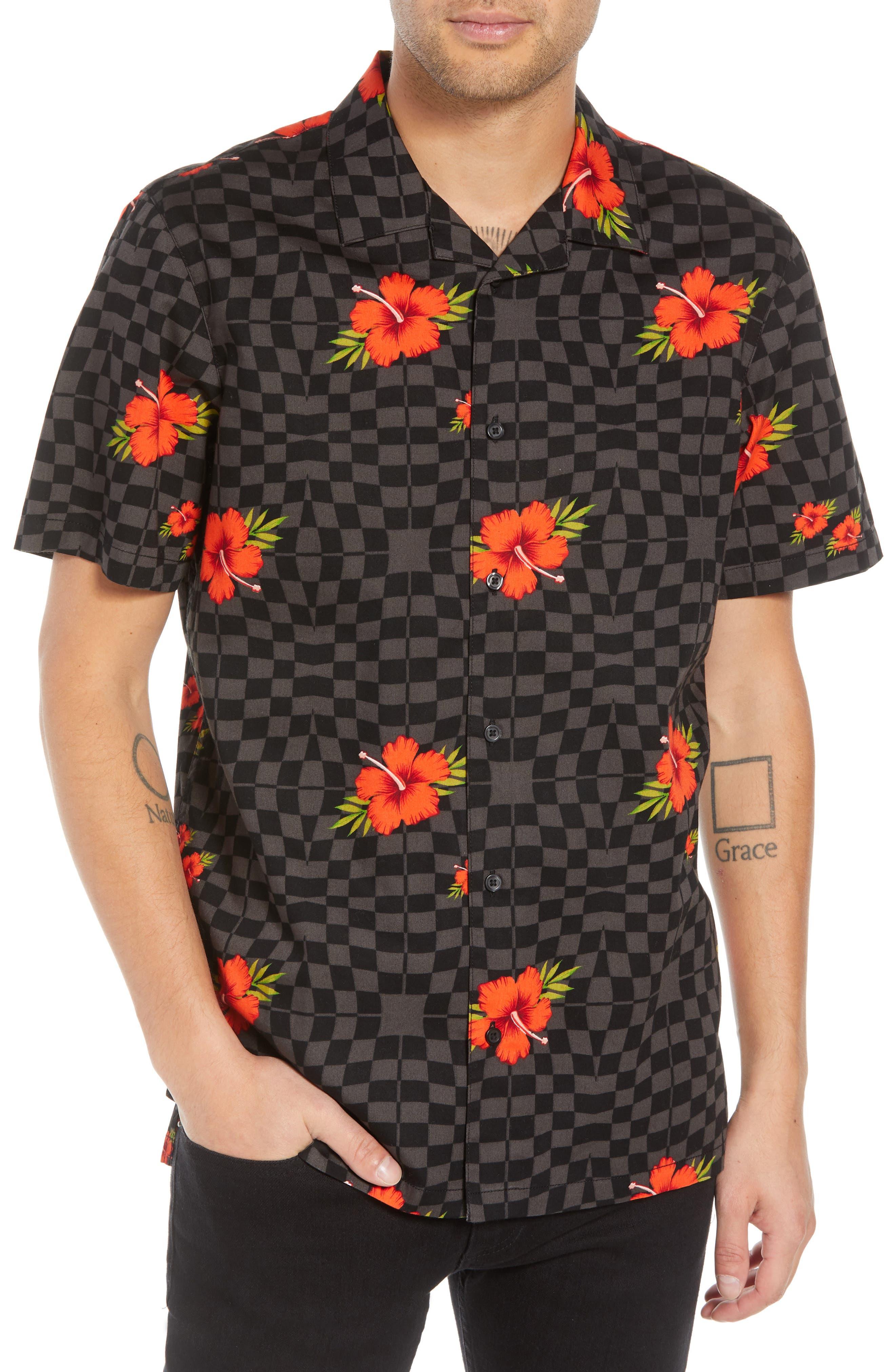 VANS,                             Warp Tropic Checks Camp Shirt,                             Main thumbnail 1, color,                             001