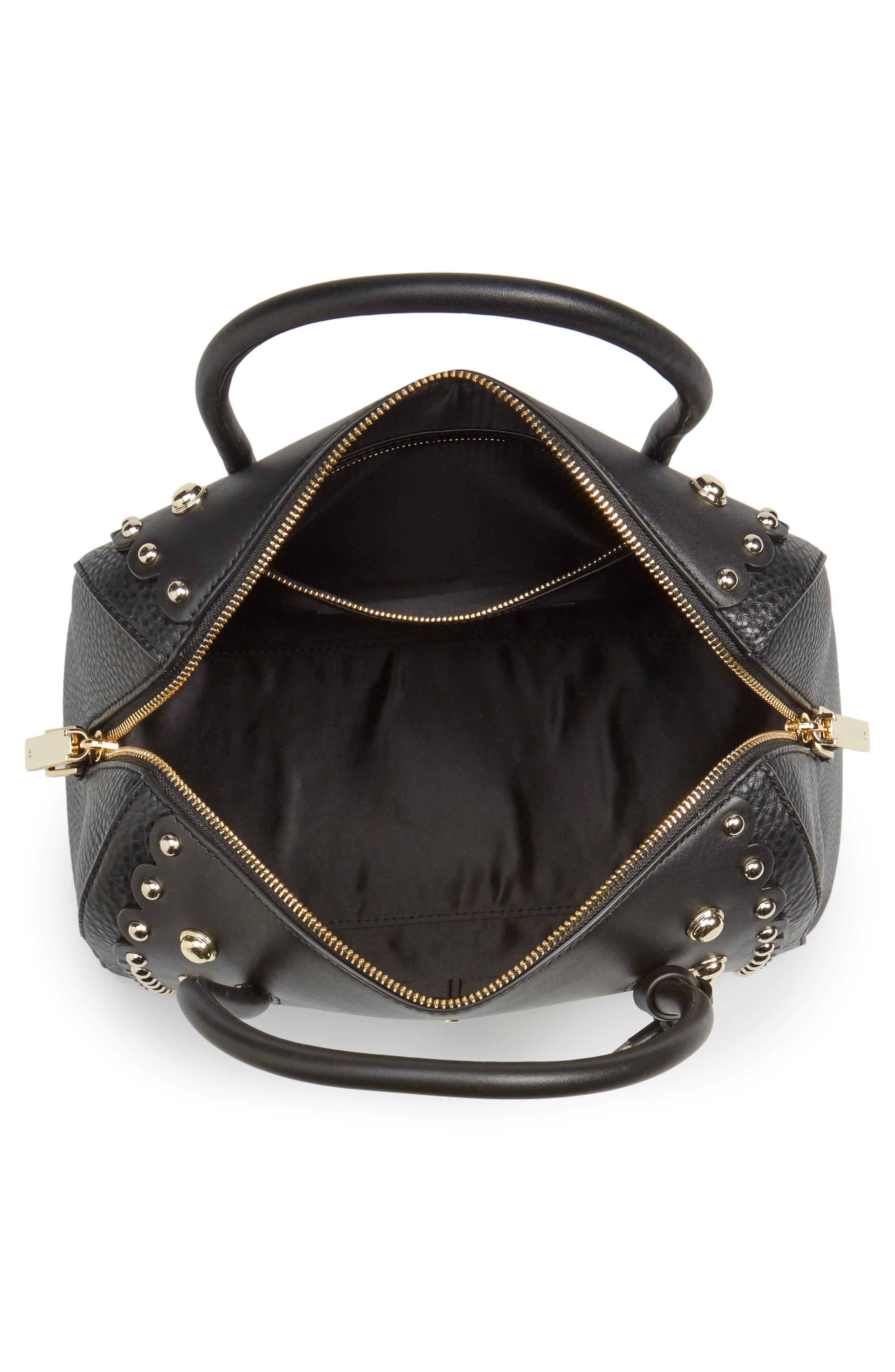 madison stewart studded mega lane leather satchel,                             Alternate thumbnail 4, color,                             001