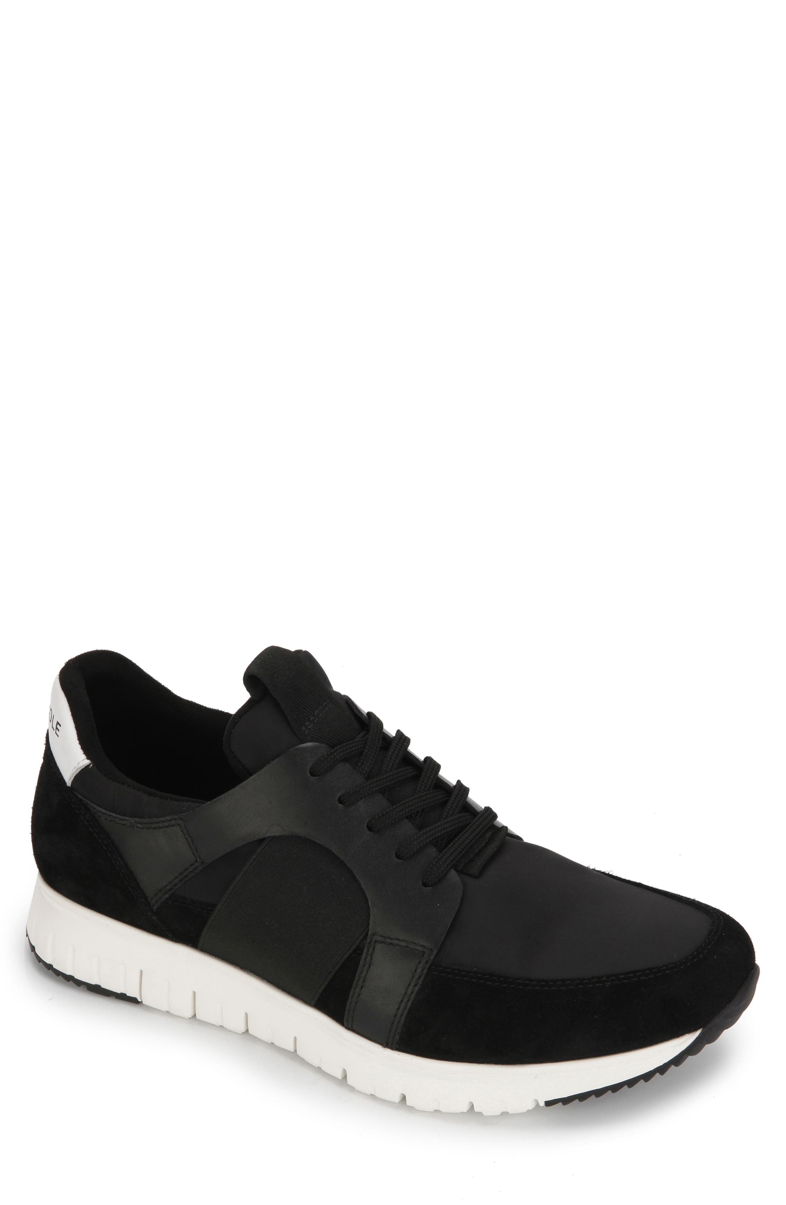 Bailey Sneaker, Main, color, BLACK LEATHER/ TEXTILE