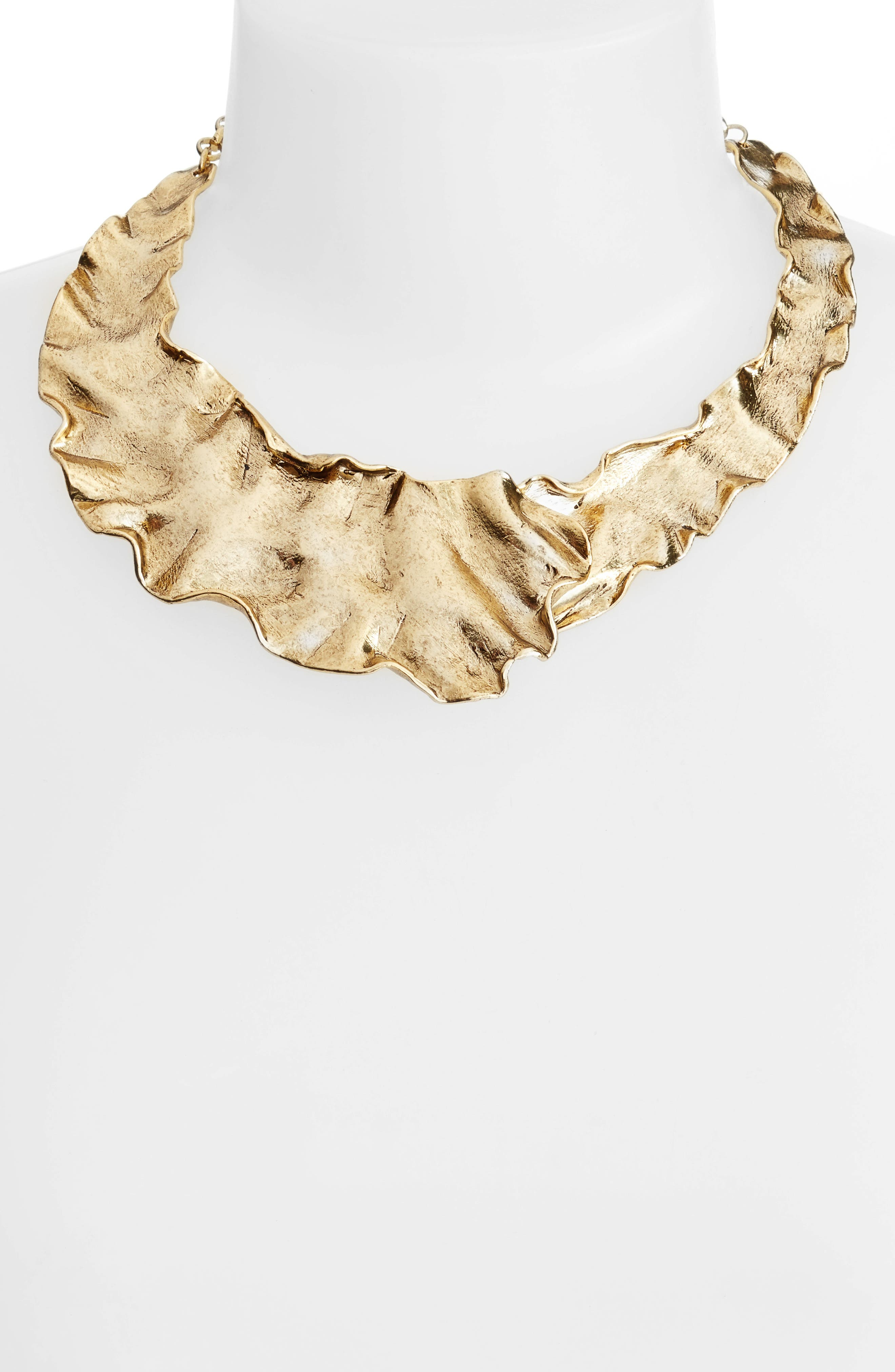 Gold Plate Collar Necklace,                             Alternate thumbnail 4, color,