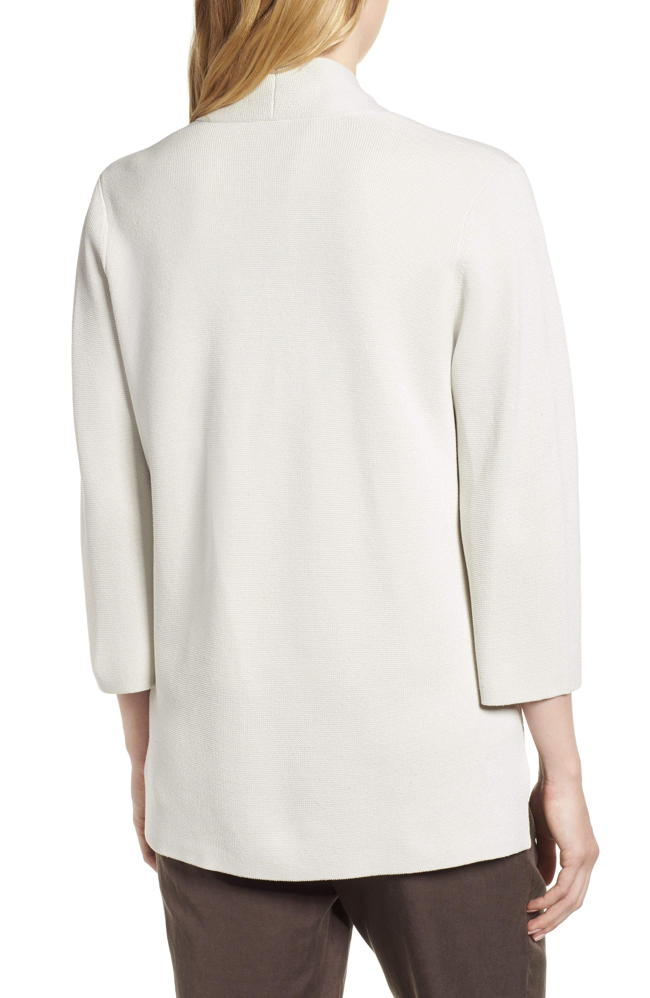 Stand Collar Silk & Organic Cotton Cardigan,                             Alternate thumbnail 4, color,