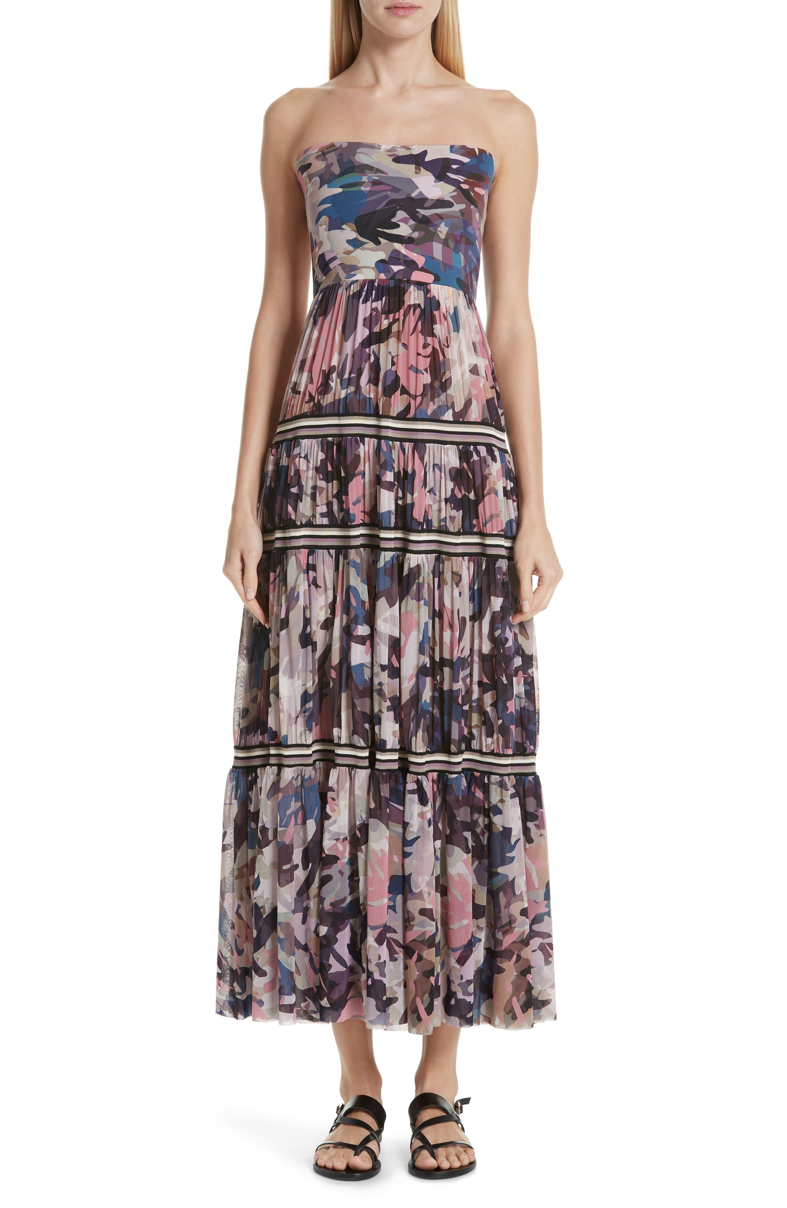 Fuzzi Camo Print Strapless Tulle Convertible Dress, Pink