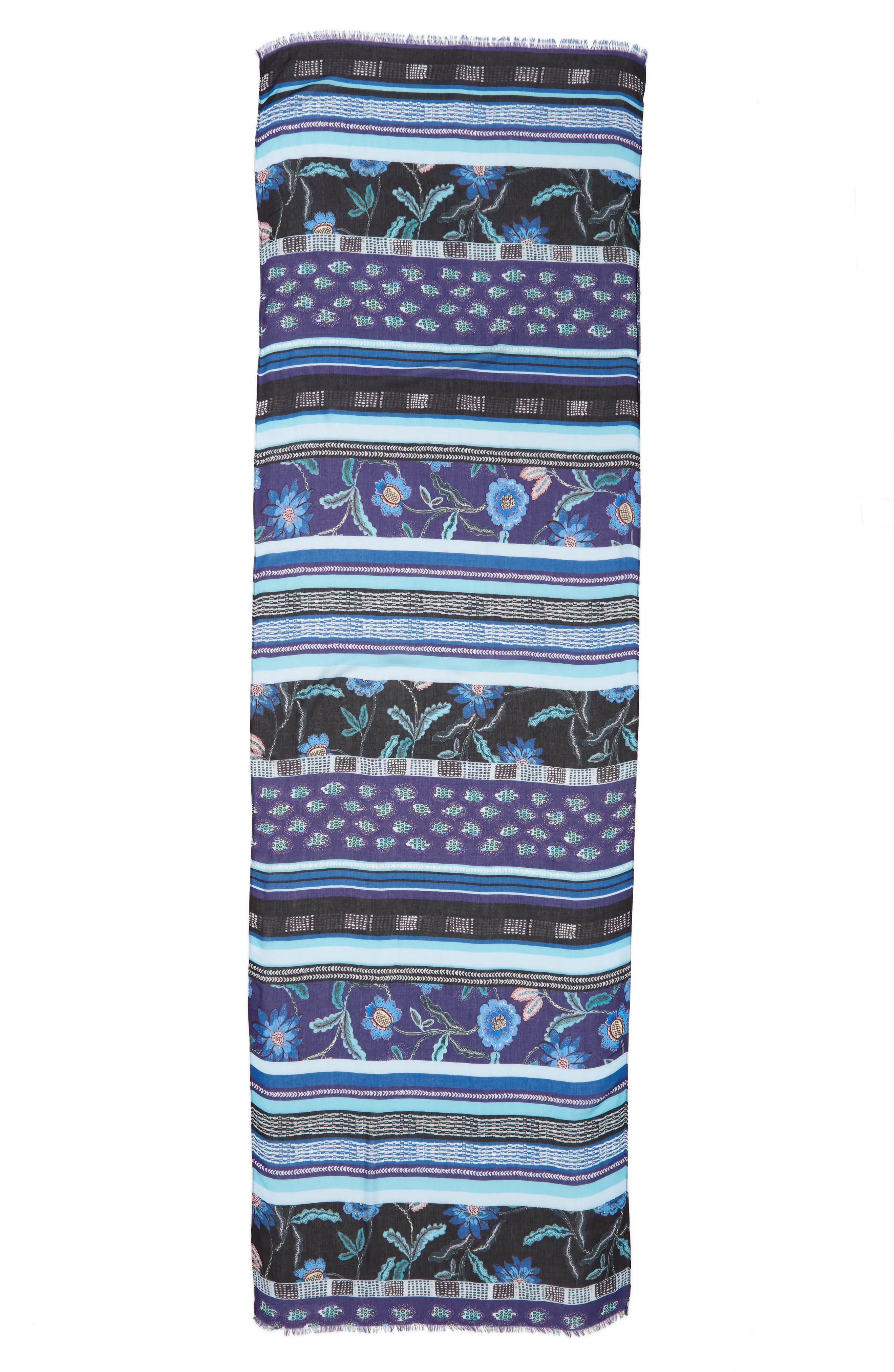 Rebecca Mixed Floral Stripe Scarf,                             Alternate thumbnail 3, color,                             BLACK